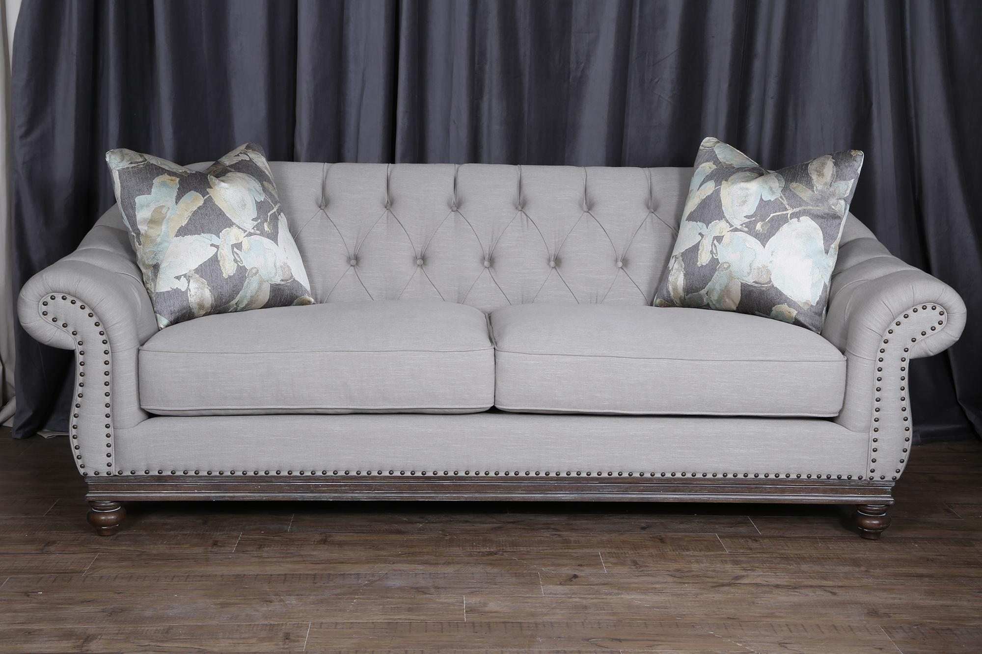 Very Magnussen Home Victoria Traditional Button-Tufted Sofa with Flared  DL93