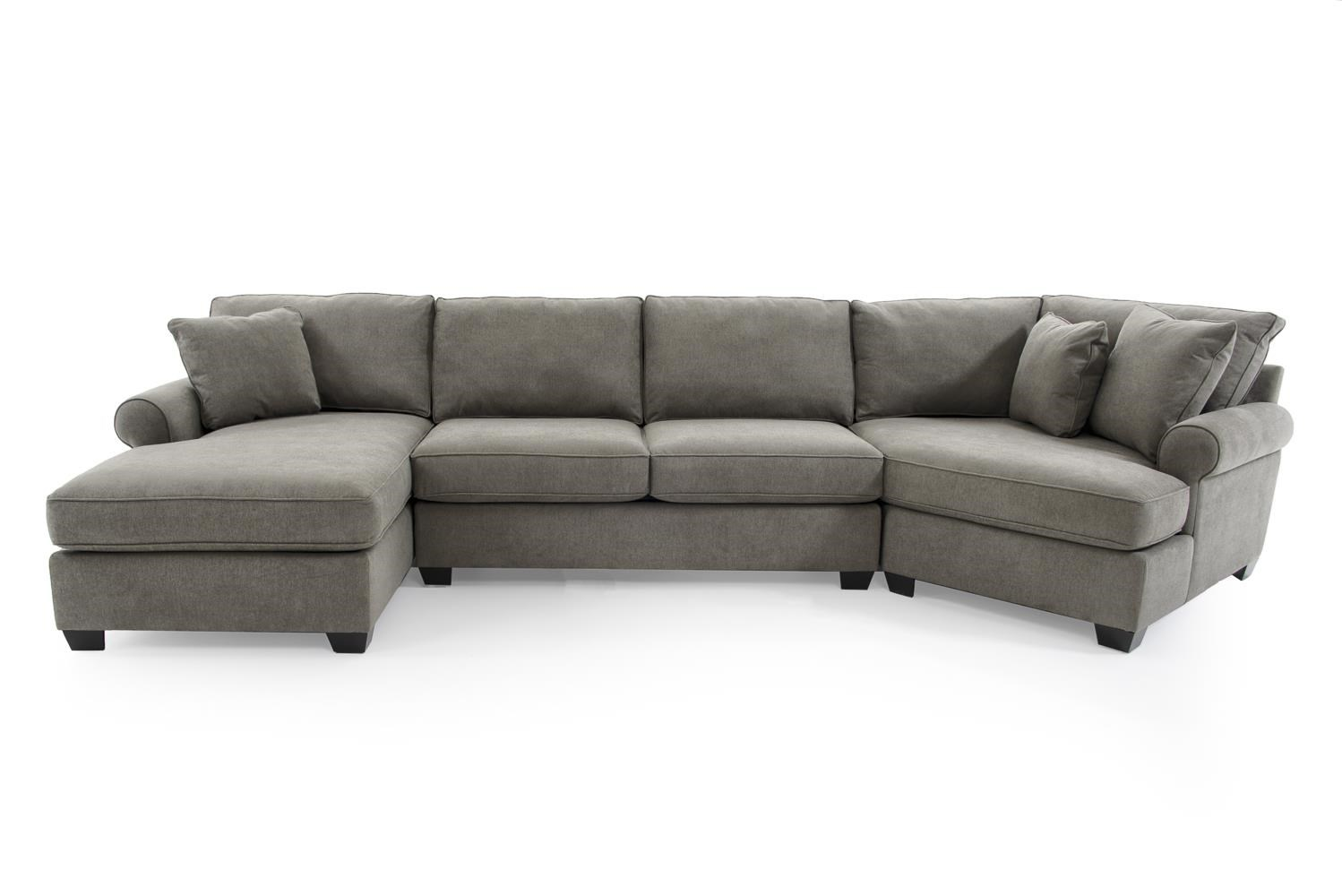 Max Home Jessica 9ba5 A Chl Saa Ccr Gray Casual Three Piece Sectional Sofa With Cuddler Baer 39 S