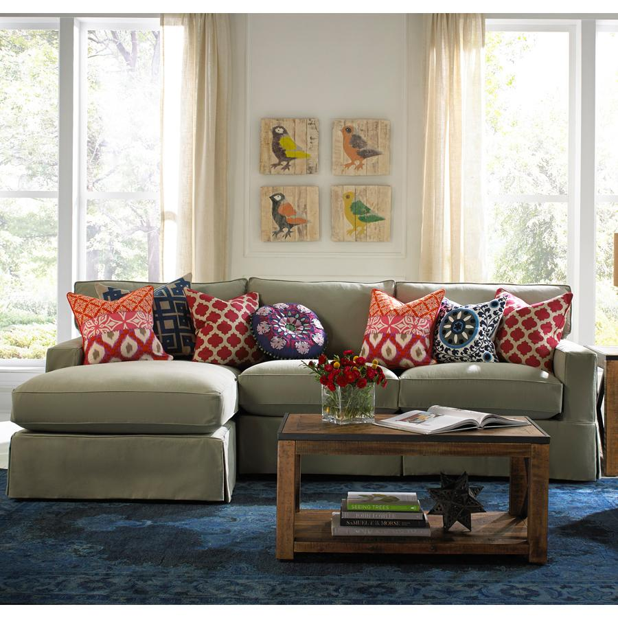 Bemodern porter casual sectional with chaise belfort for Casual living room furniture