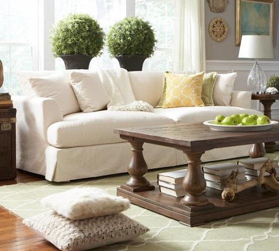 Bemodern cloud grand extra long slipcover sofa belfort furniture sofa for Slipcovers for living room chairs