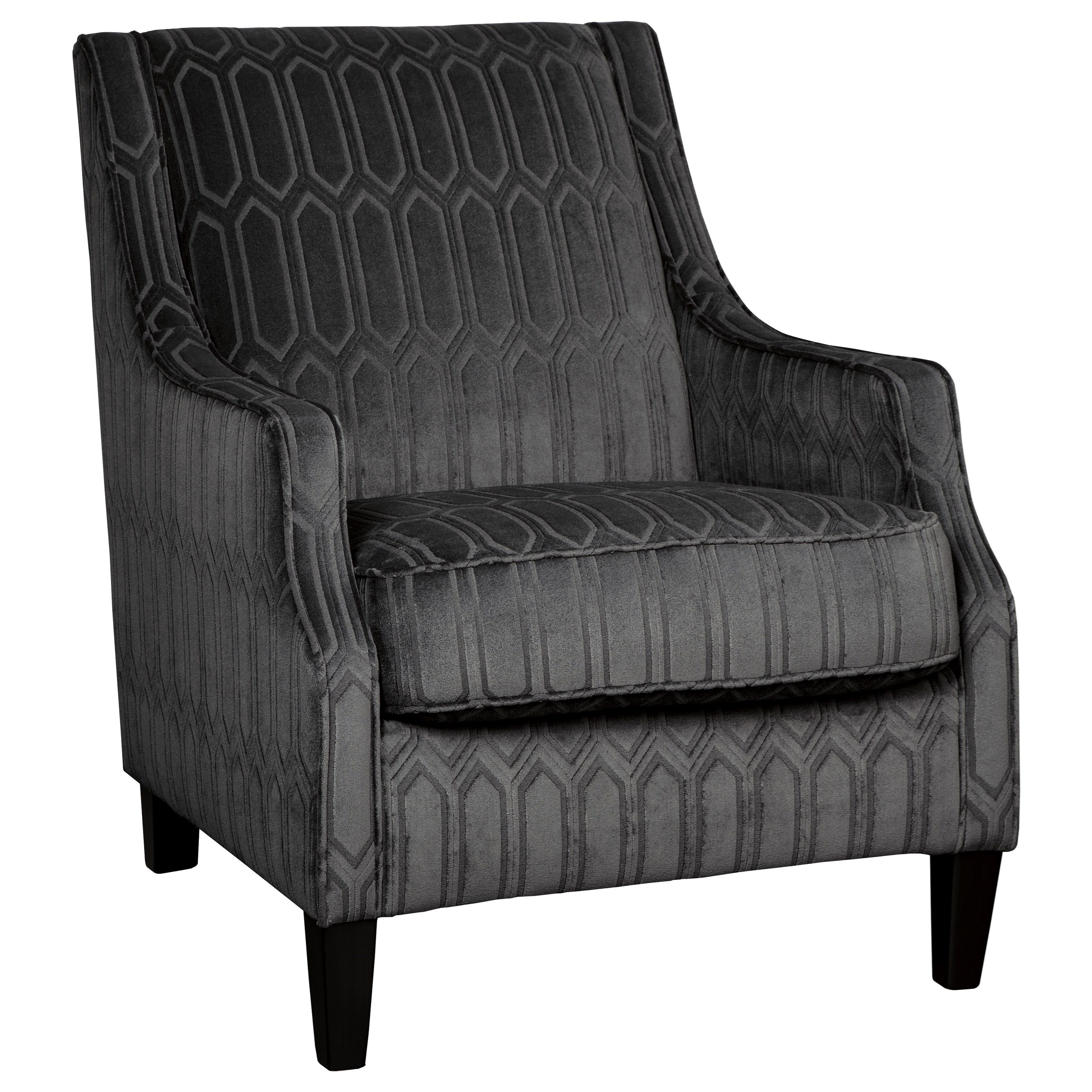 millennium entwine dark gray velvet accent chair with