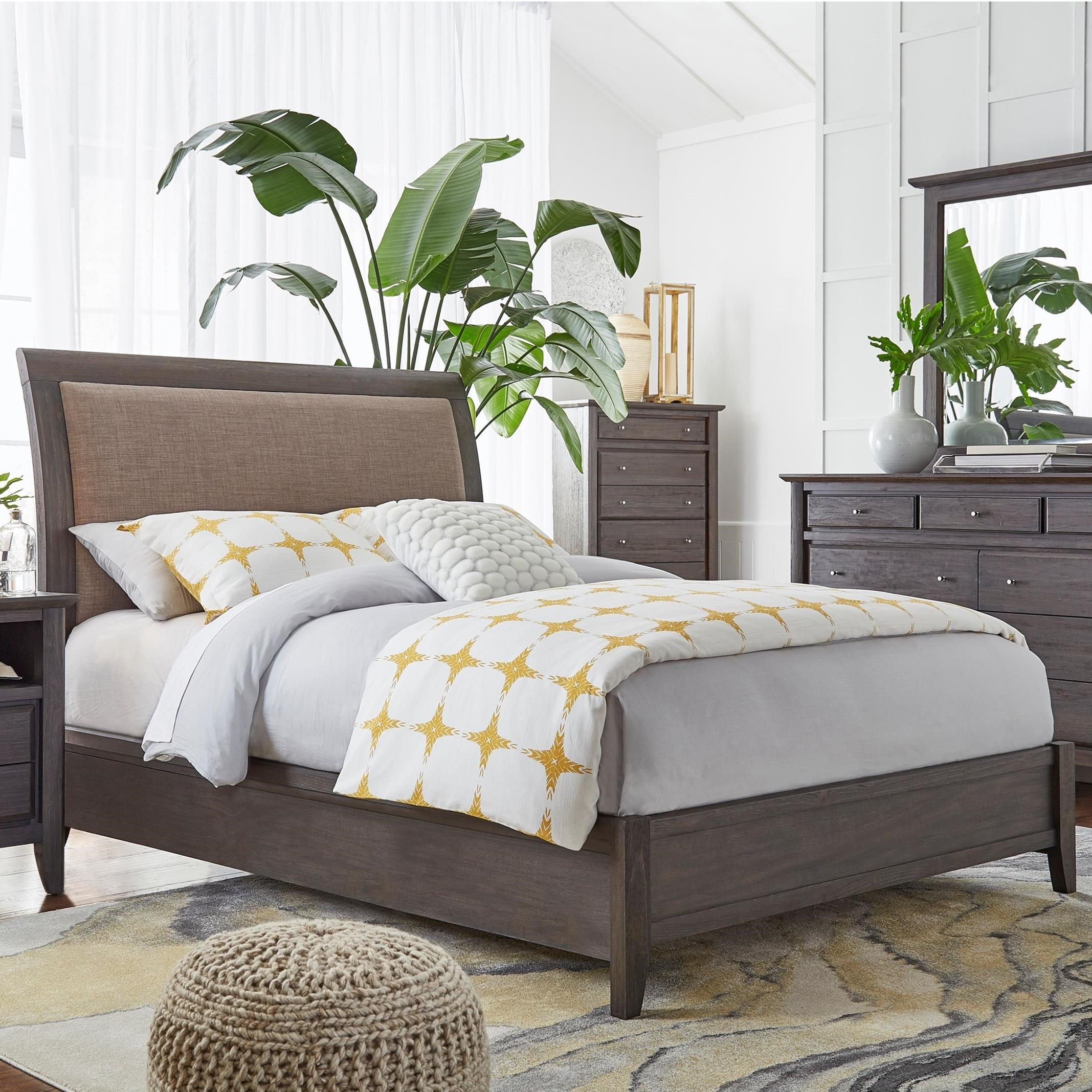 modus international city ii king upholstered low profile sleigh bed rife 39 s home furniture. Black Bedroom Furniture Sets. Home Design Ideas