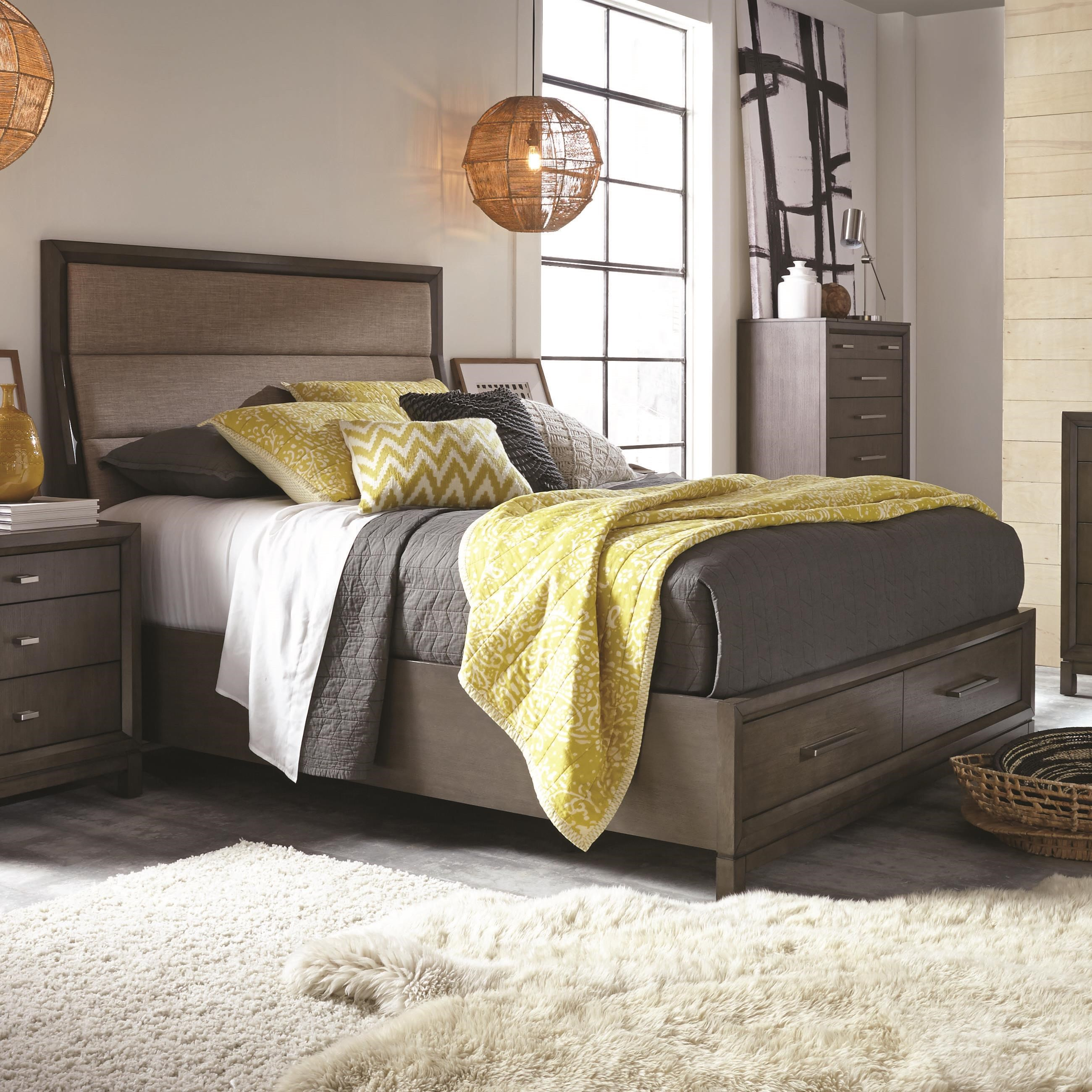 najarian cordova queen contemporary upholstered bed with footboard