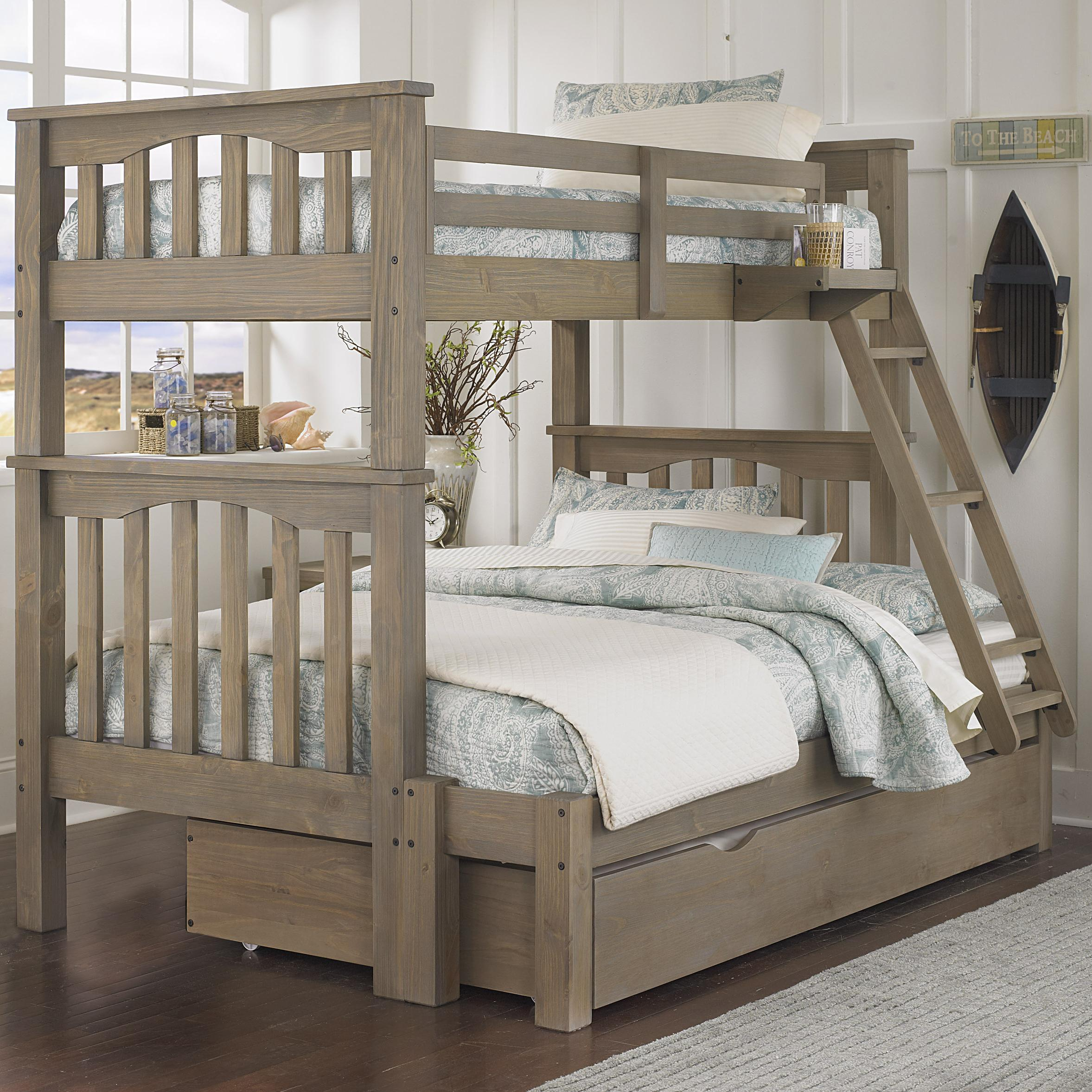 ne kids highlands mission style twin over full harper bunk bed with hanging tray and under bed. Black Bedroom Furniture Sets. Home Design Ideas