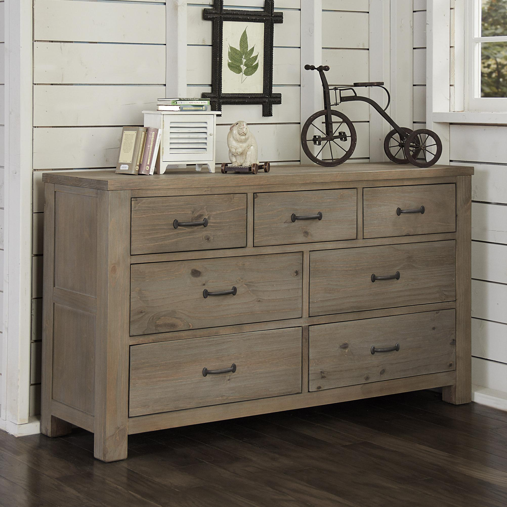 NE Kids Highlands Transitional 7 Drawer Dresser with Driftwood ... for Driftwood Color Furniture  183qdu