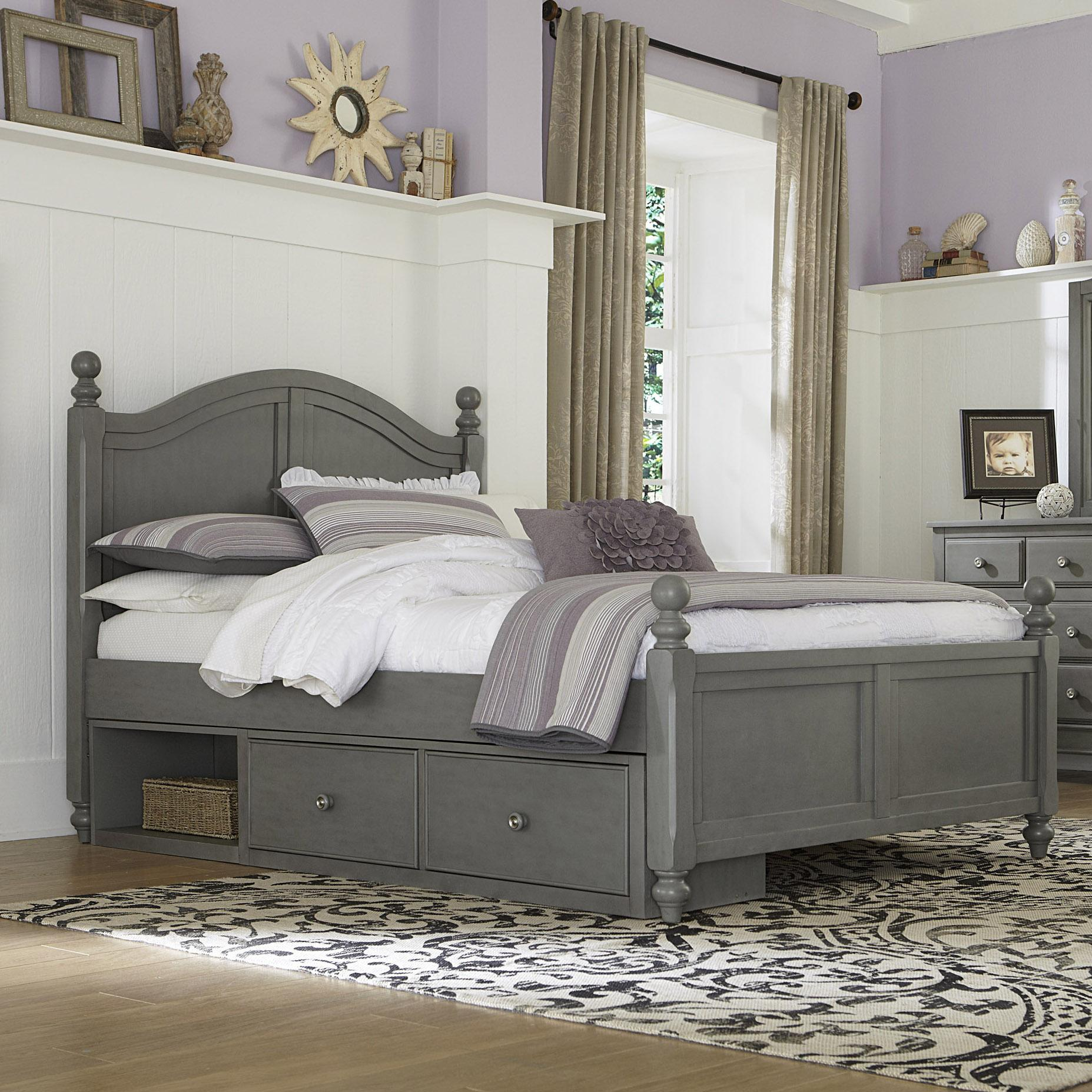 Ne kids lake house full bed with arched headboard and underneath storage dunk bright Lake home bedroom furniture