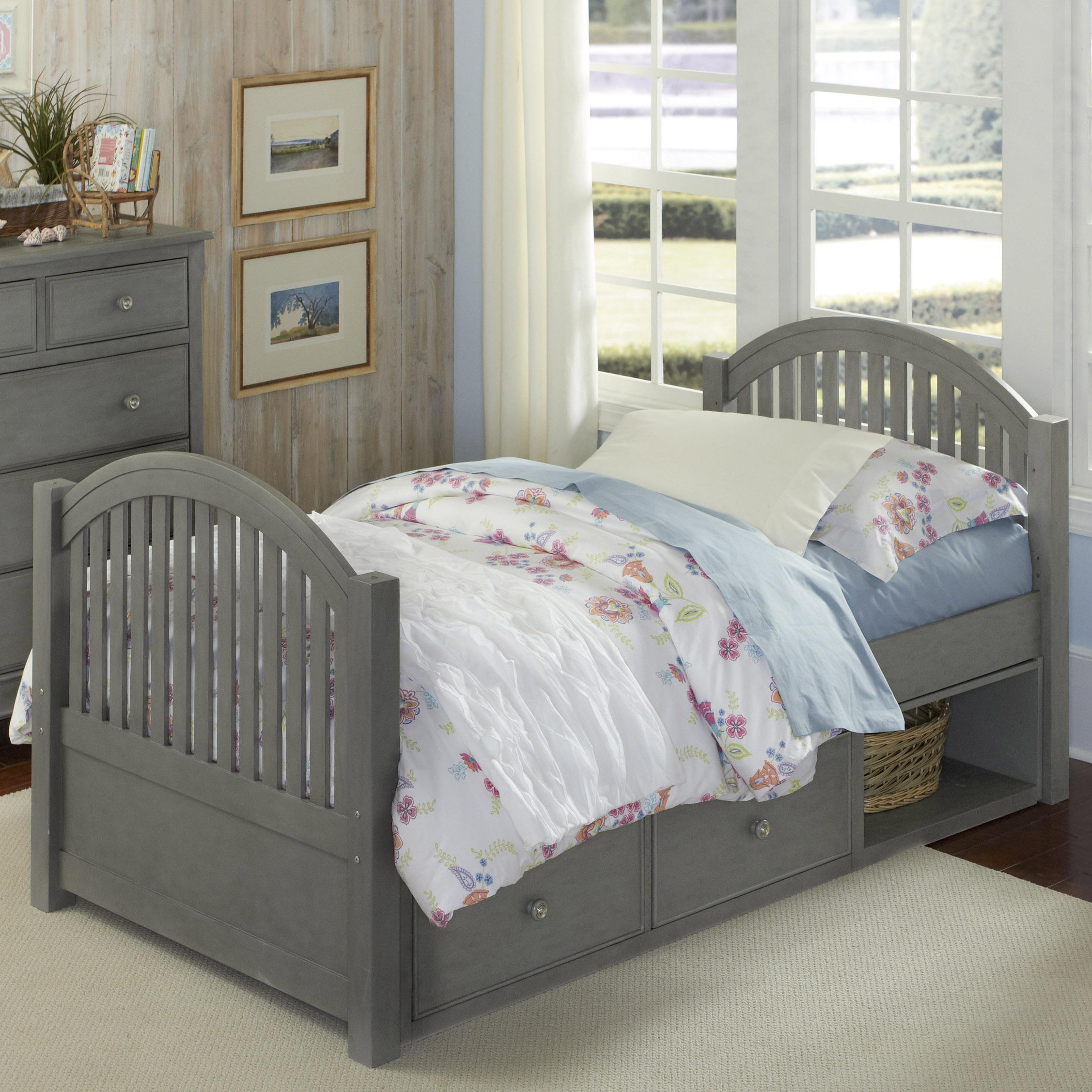 Ne kids lake house twin bed with arched headboard and footboard and underneath storage belfort Lake home bedroom furniture