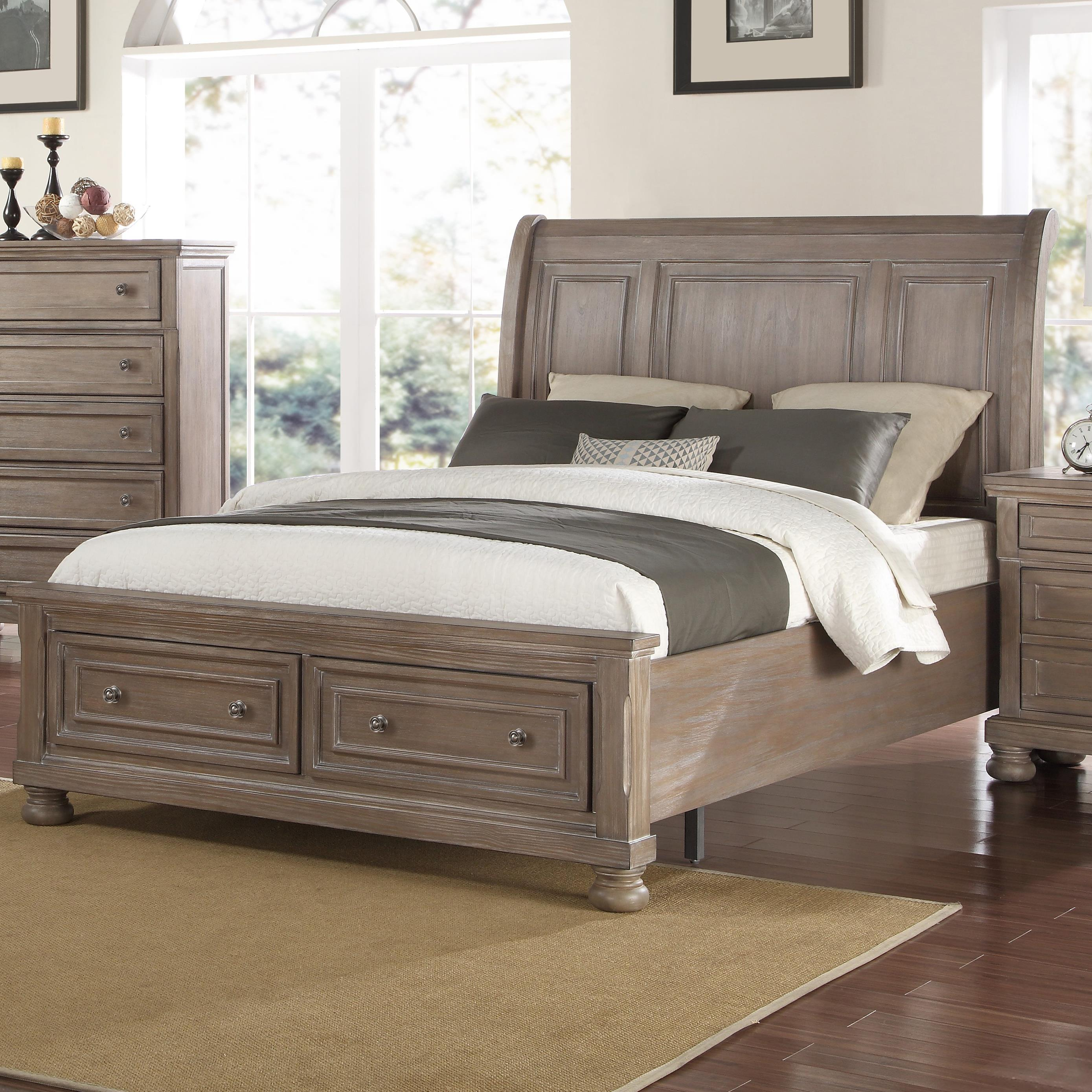 New Classic Allegra California King Low Profile Bed With Footboard Storage Del Sol Furniture