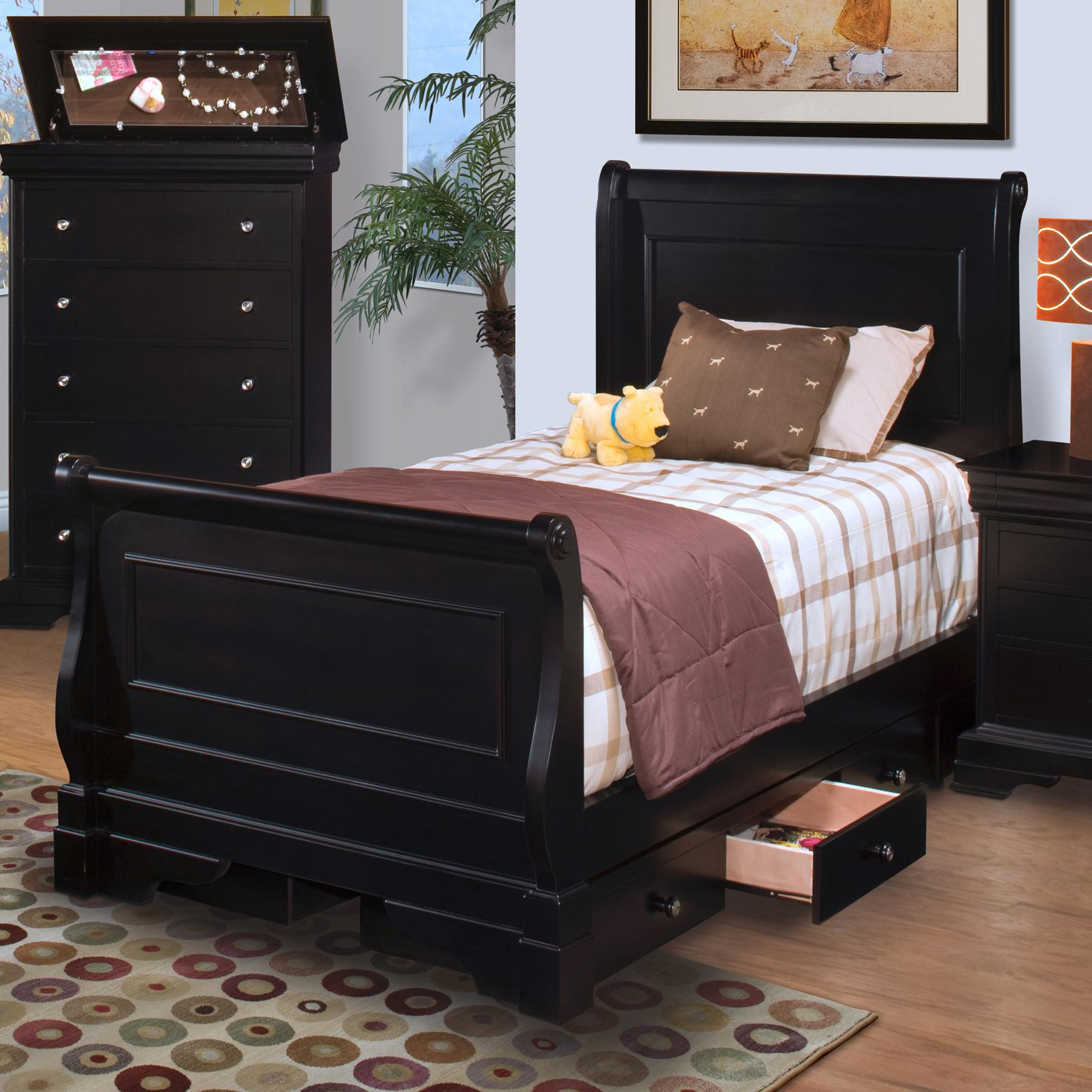 New Classic Belle Rose Youth Twin Sleigh Bed W Underbed