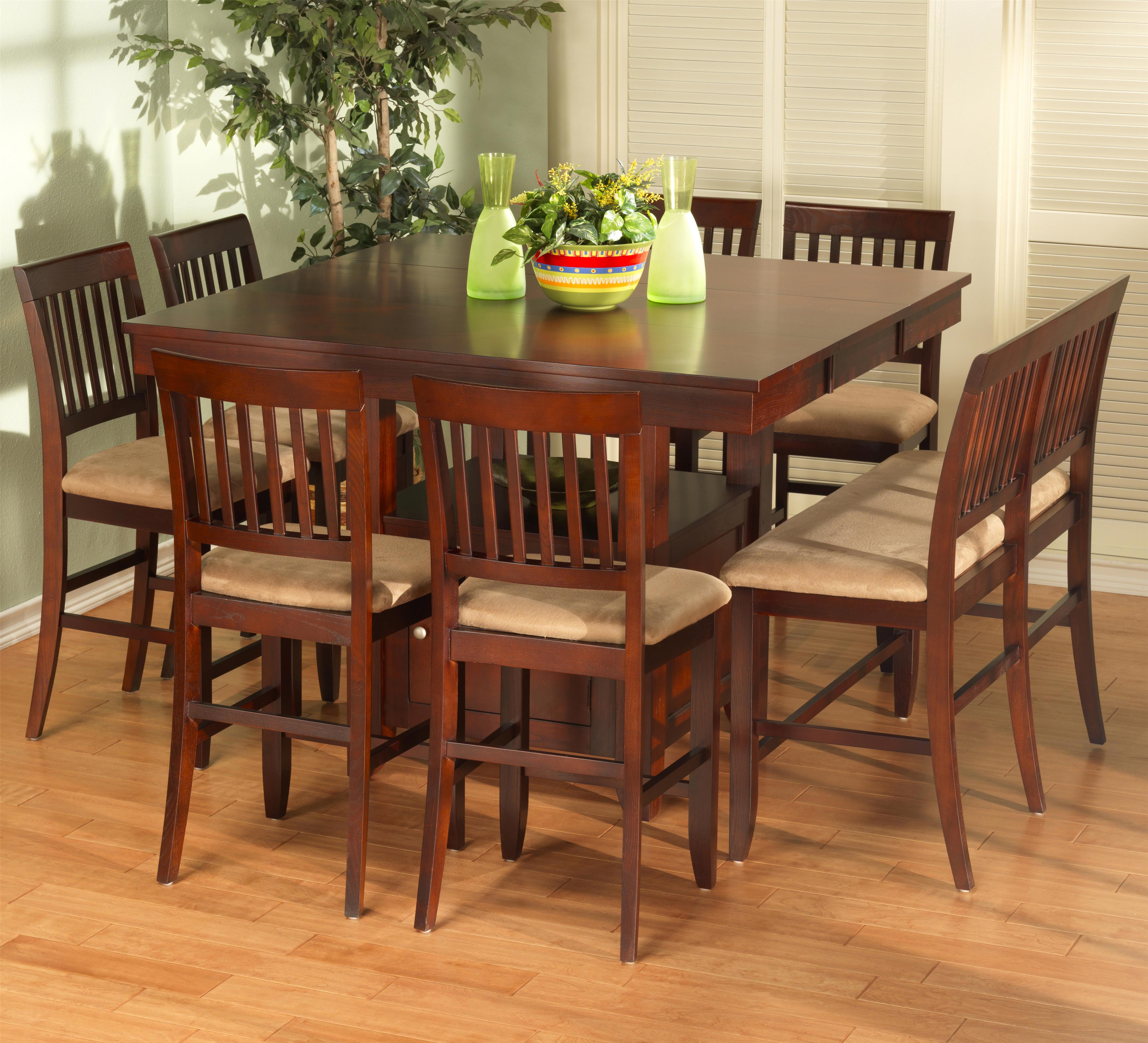 New Classic Brendan 8 Piece Storage Pub Table Bench And