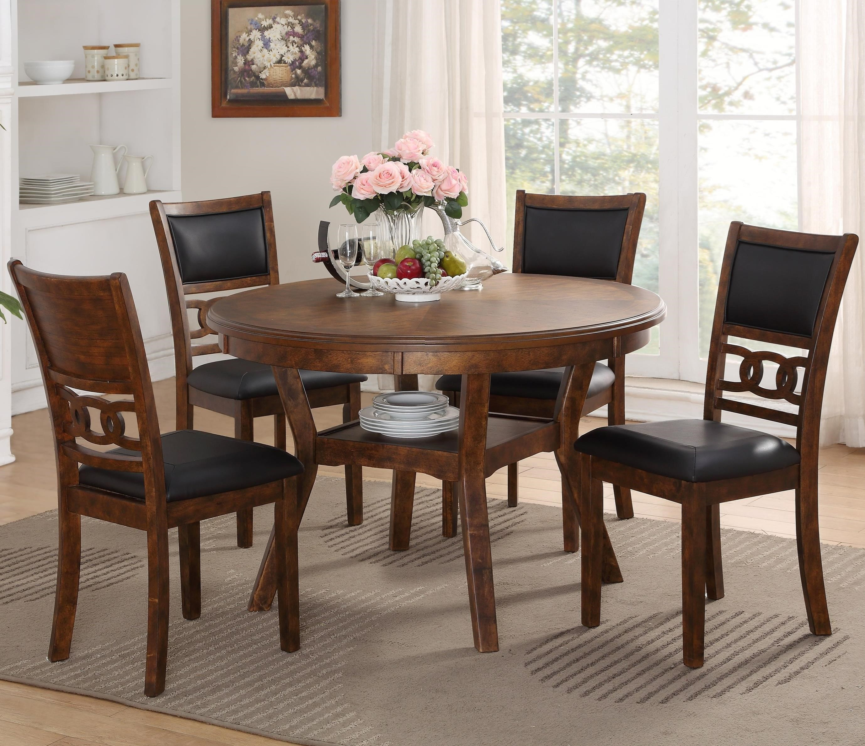 New Classic Gia D1701 50s Brn Dining Table And Chair Set