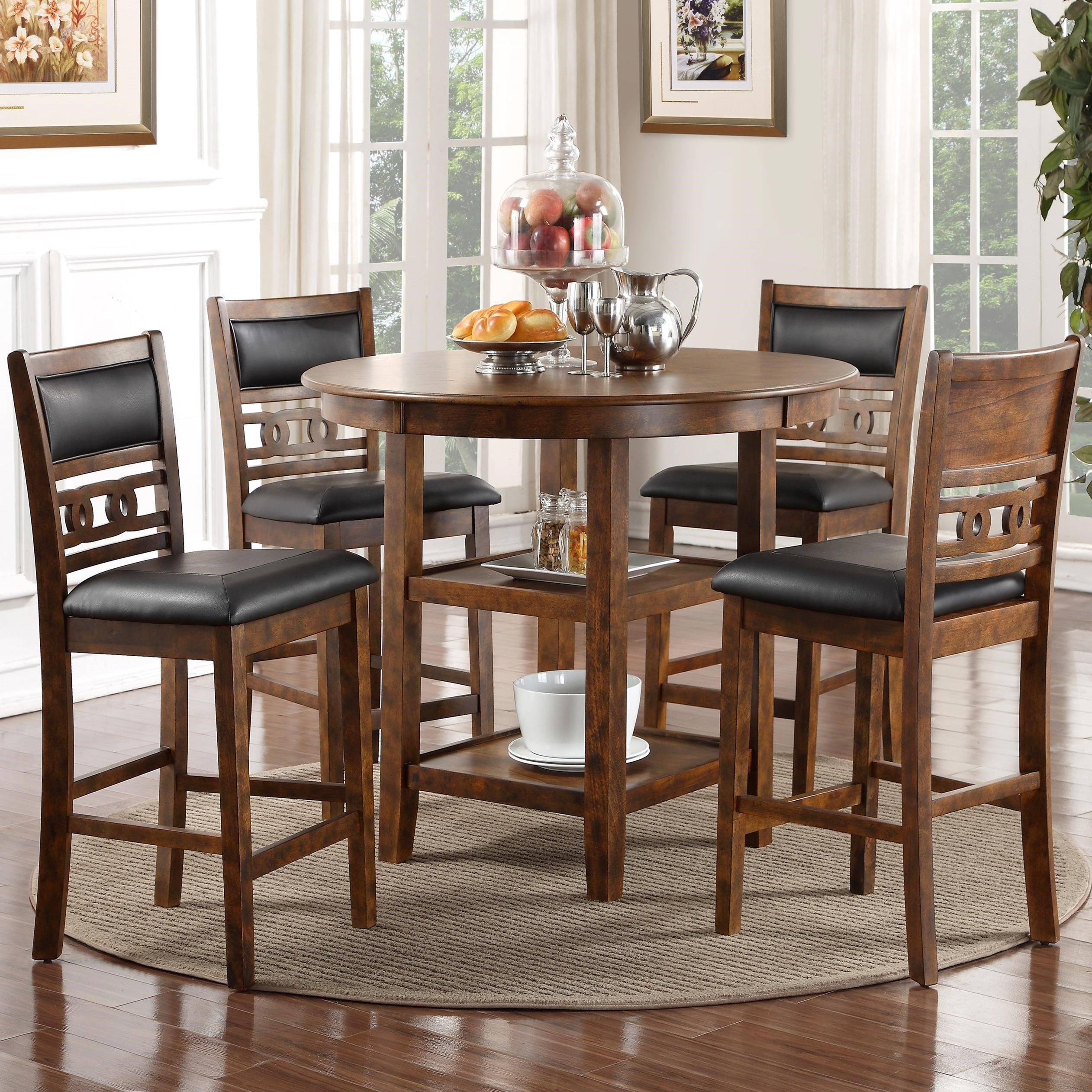 New classic gia d1701 52s brn counter height dining table for Classic dining tables and chairs