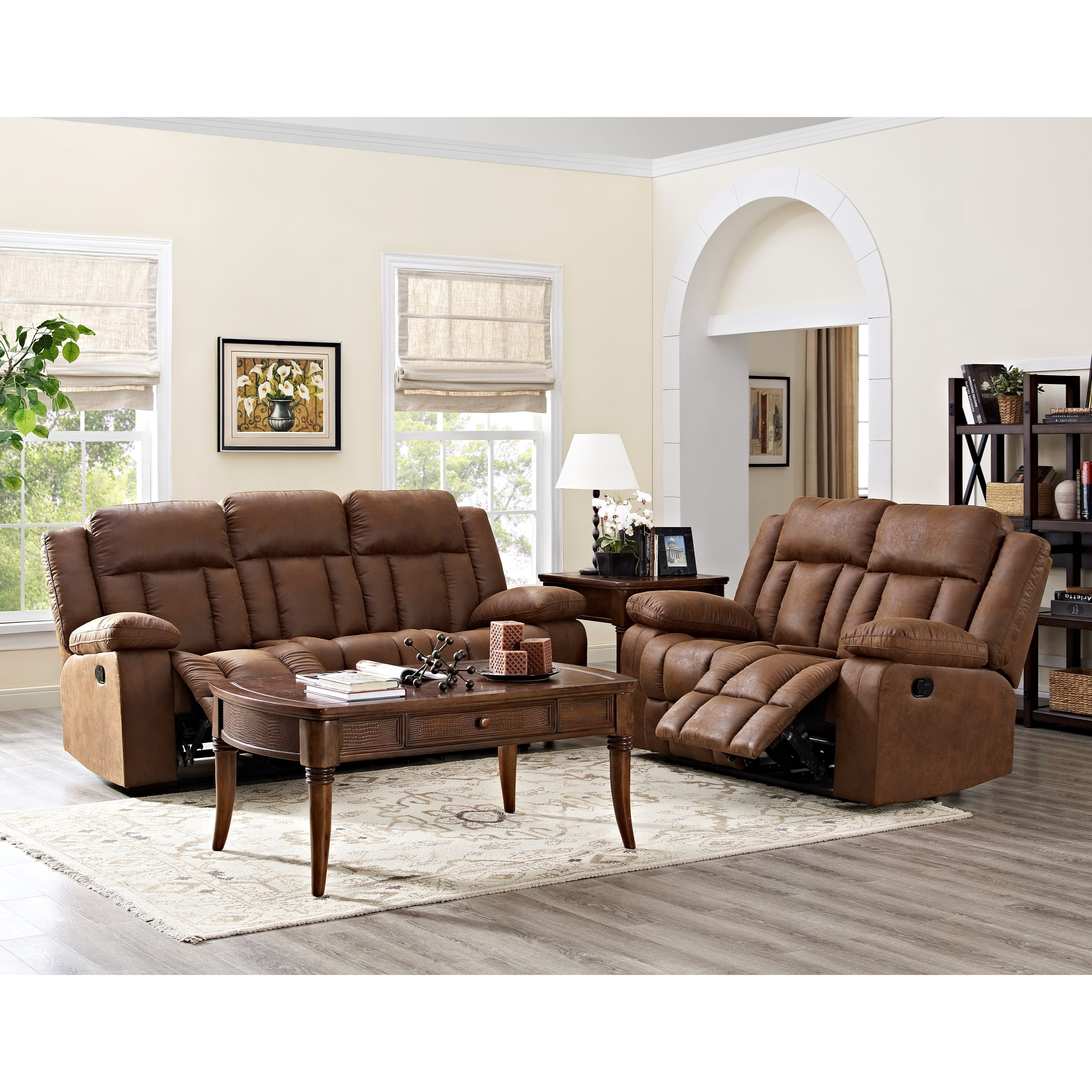 Rutherford 2pc power reclining sofa loveseat set for Living room group sets