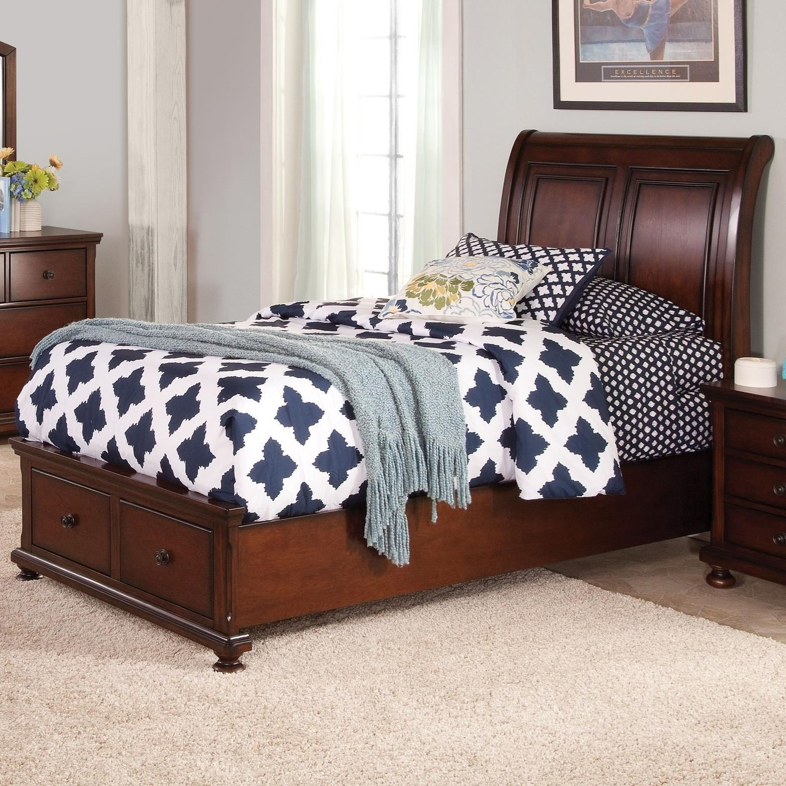 new classic jesse twin low profile storage bed with sleigh style panel headboard beck 39 s. Black Bedroom Furniture Sets. Home Design Ideas