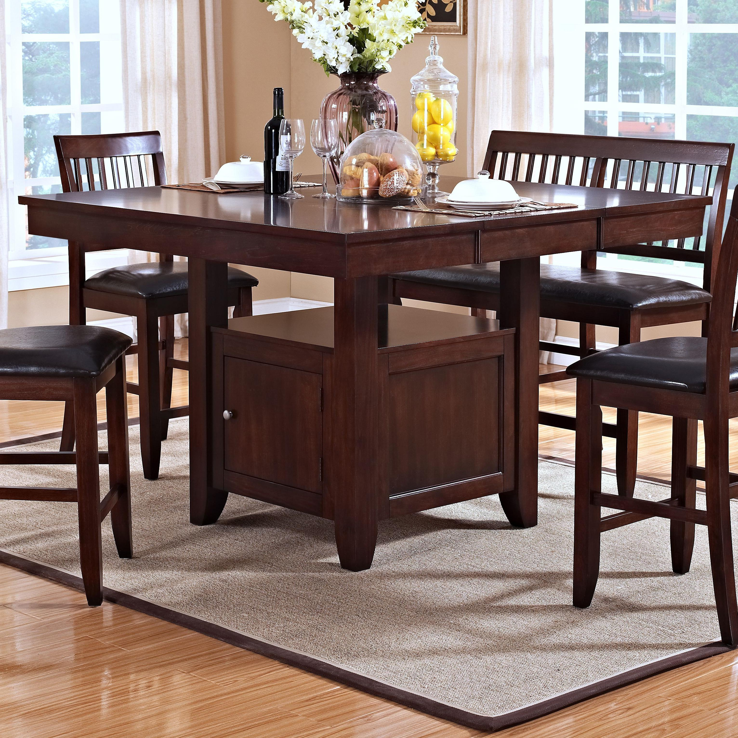 new classic kaylee counter height table with storage pedestal base del sol furniture pub table. Black Bedroom Furniture Sets. Home Design Ideas