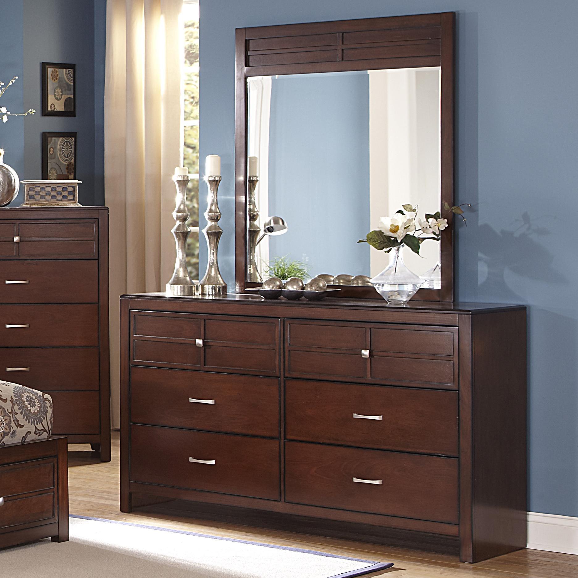 New Classic Kensington 6 Drawer Dresser And Vertical Mirror Set Dunk Bright Furniture