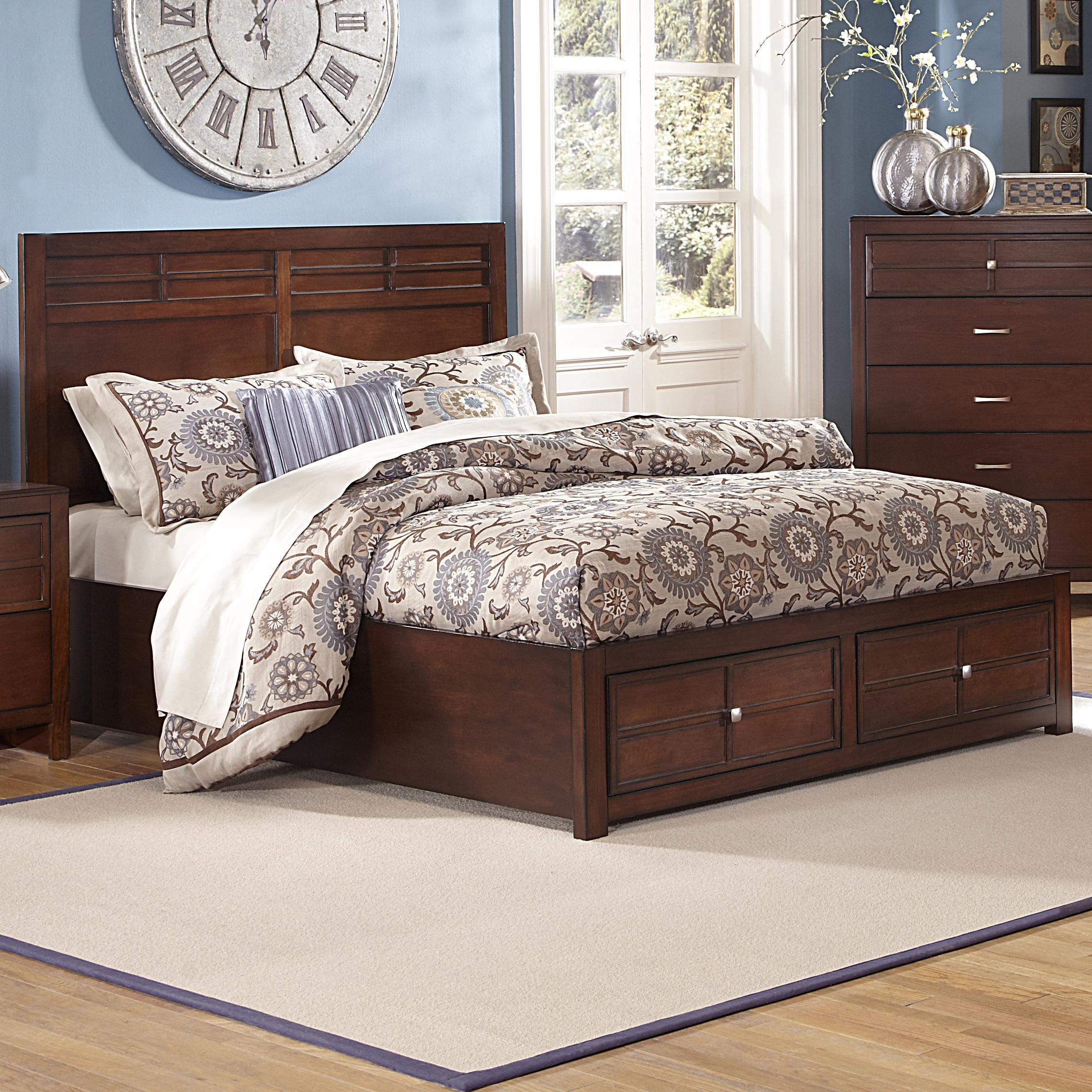 New Classic Kensington Queen Low Profile Bed With Storage Footboard Dunk Bright Furniture