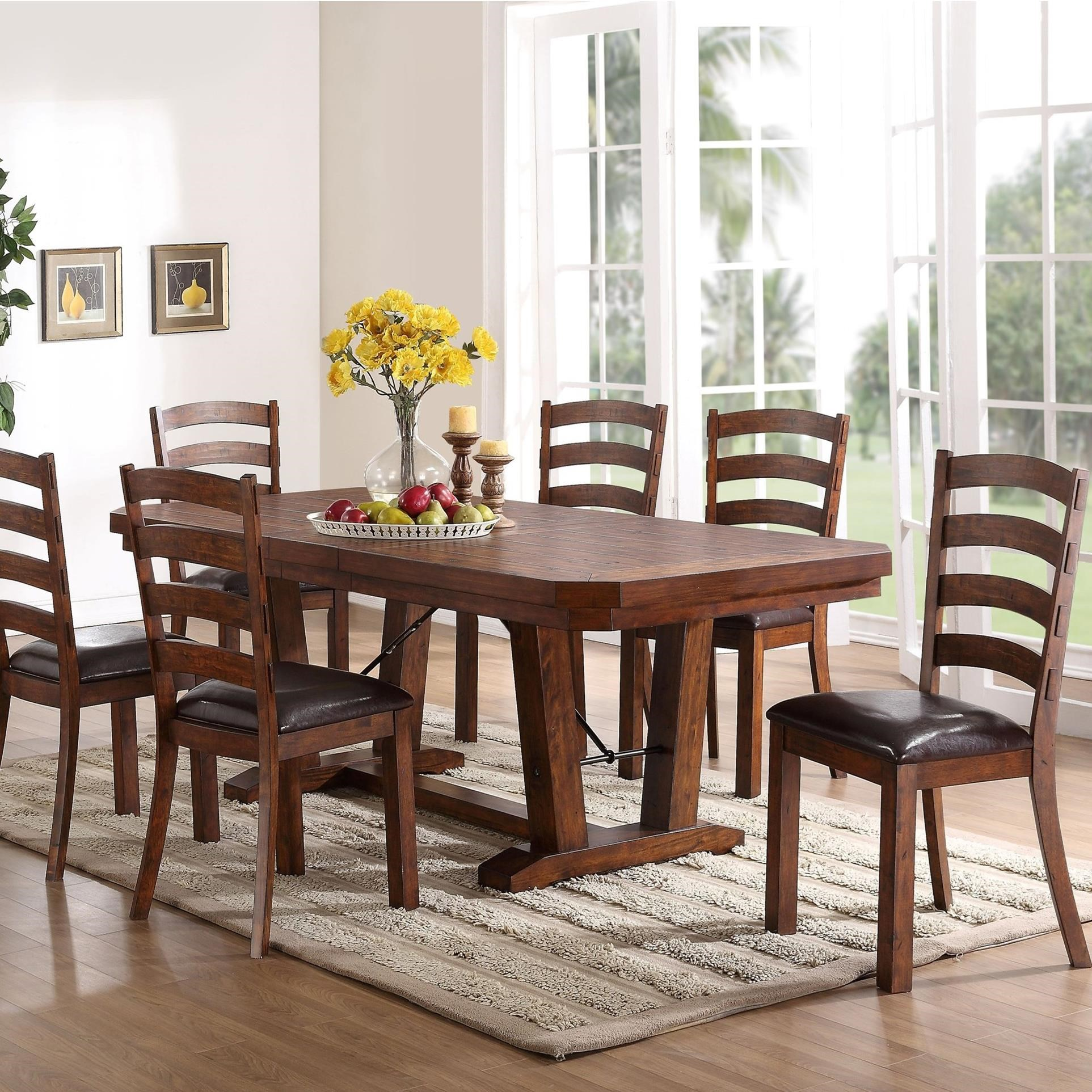 New classic lanesboro 7 piece dining table and ladder back for Latest dining table set