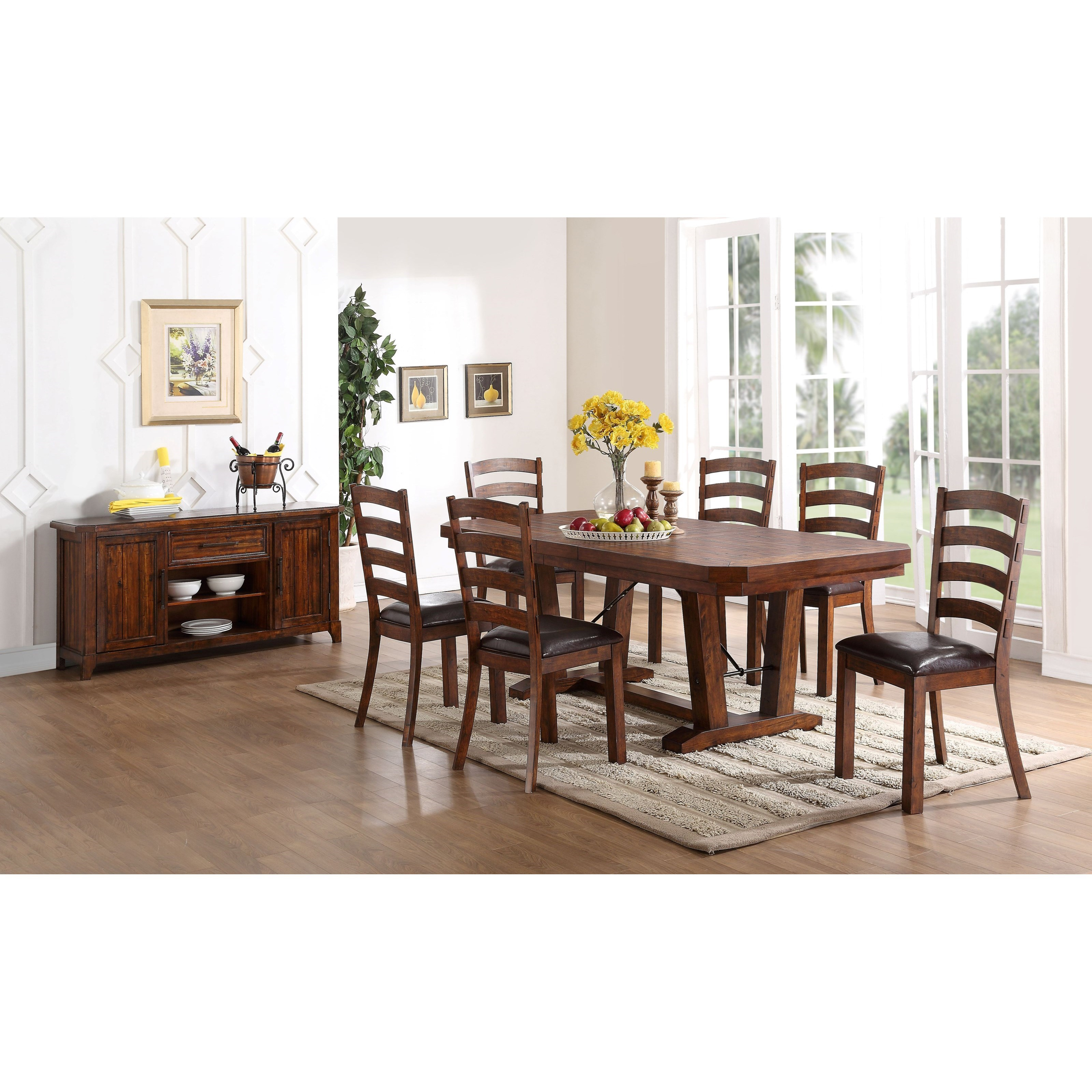New classic lanesboro 7 piece dining table and ladder back for Latest dining set