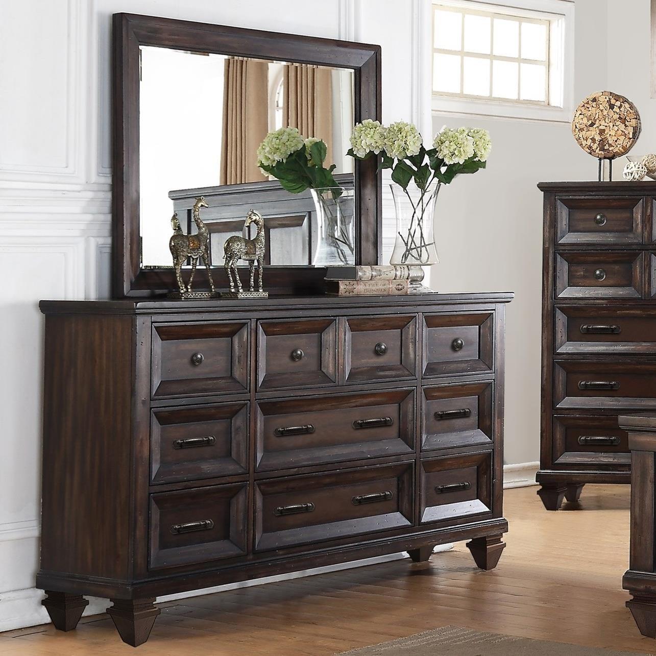 new classic sevilla nine drawer dresser and mirror set great american home store dresser. Black Bedroom Furniture Sets. Home Design Ideas