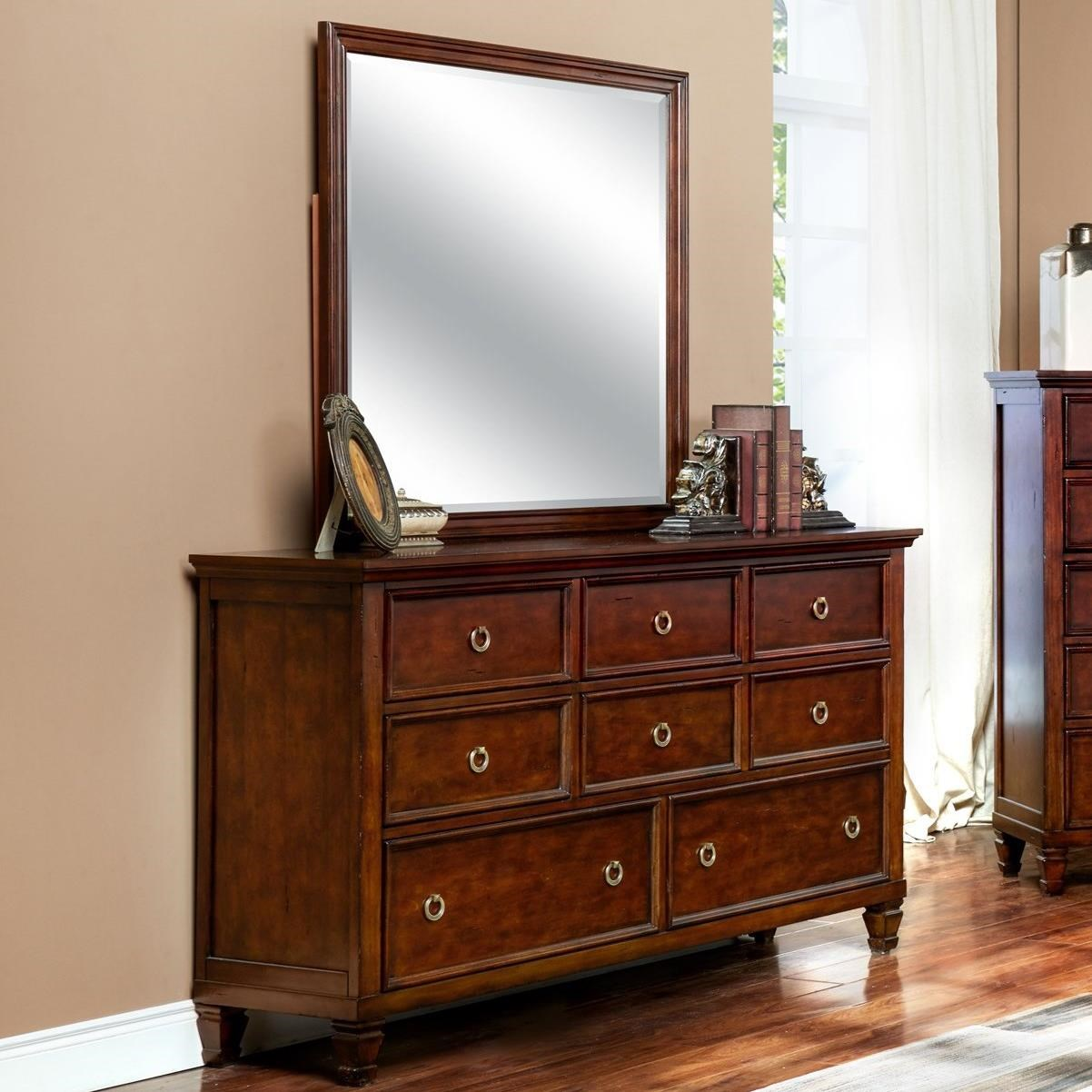 New Classic Tamarack 8 Drawer Dresser And Square Mirror