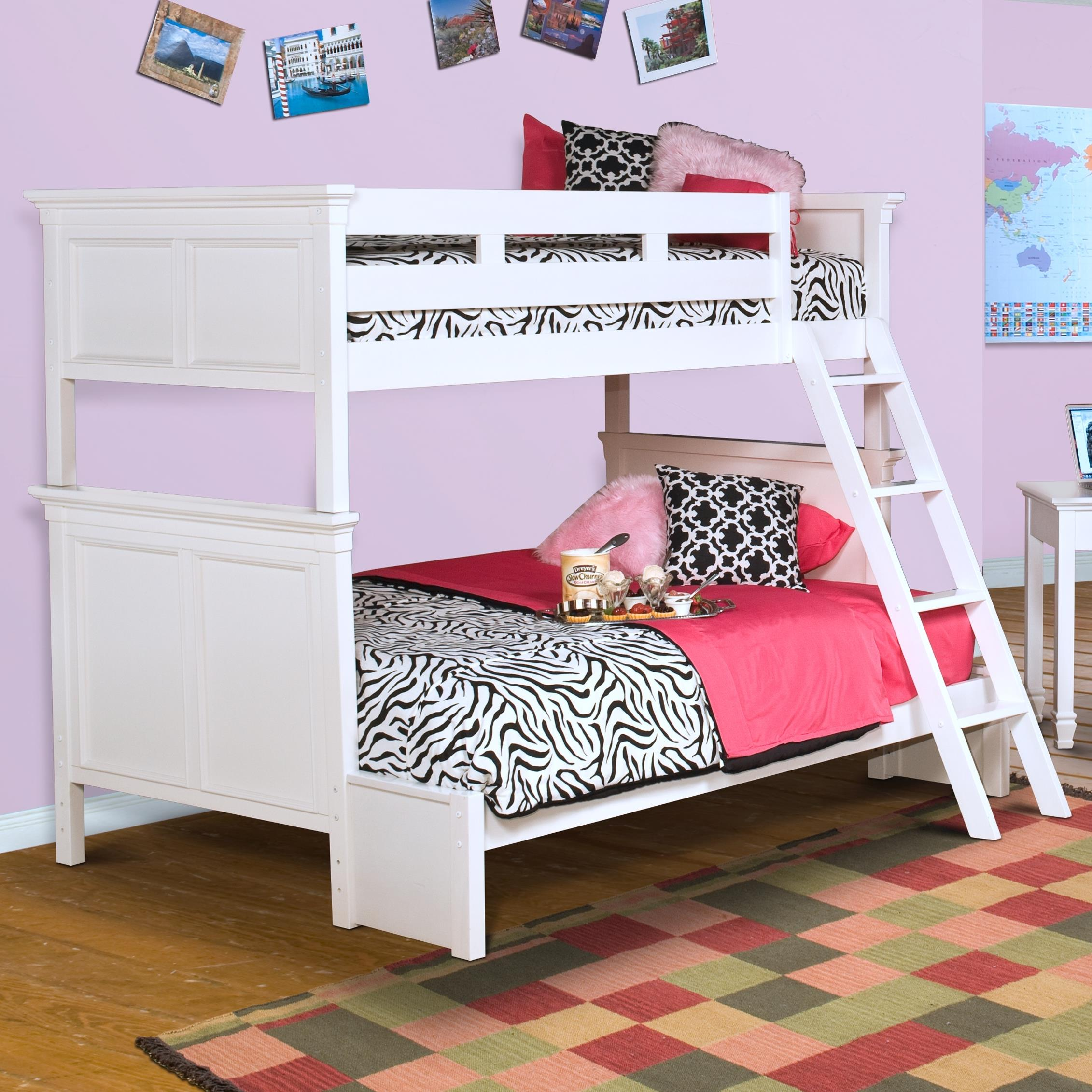 New classic tamarack twin over full bunk bed with paneled for Classic house day bed