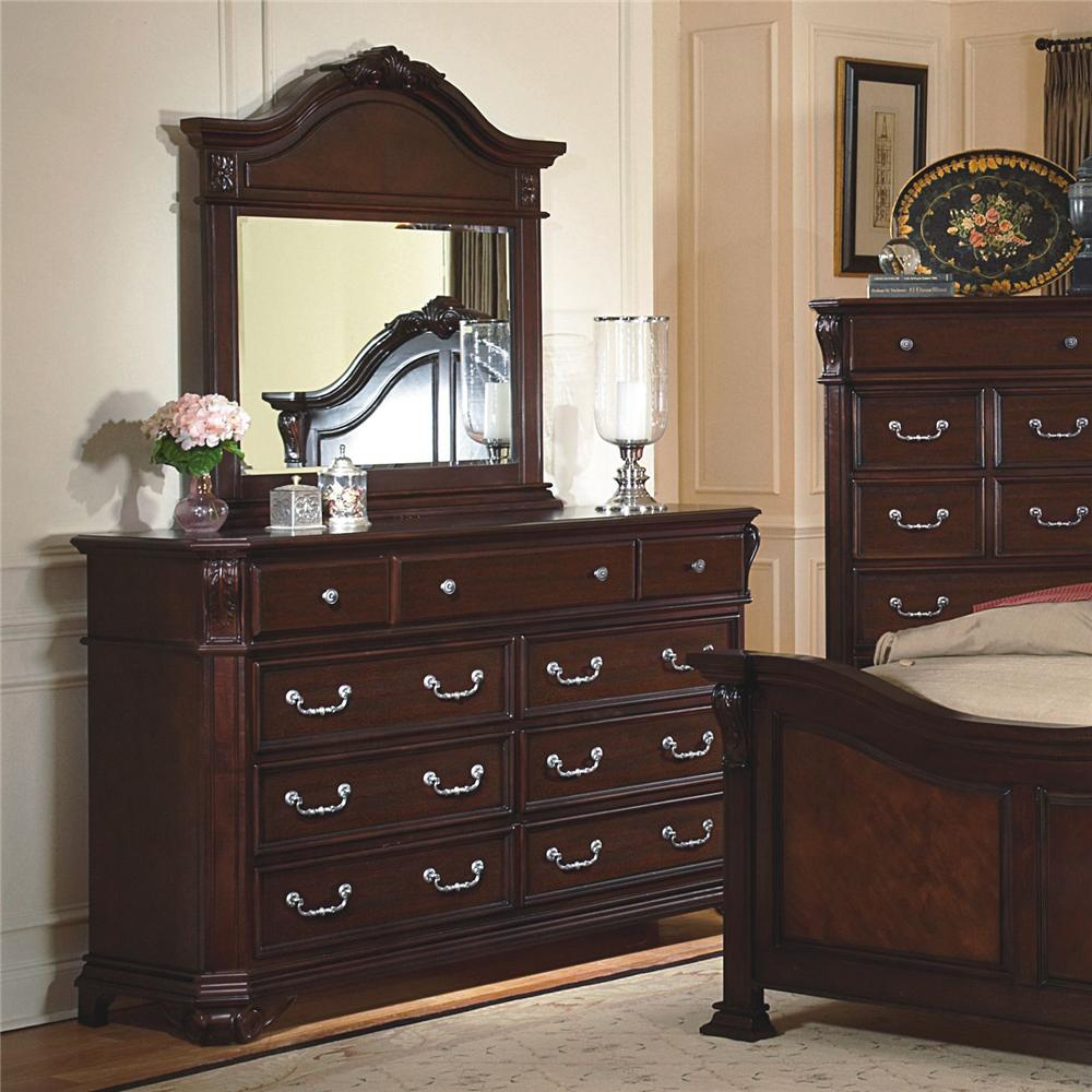 New Classic Emilie Drawer Dresser Mirror W Decorative Pediment Set Dunk Bright Furniture