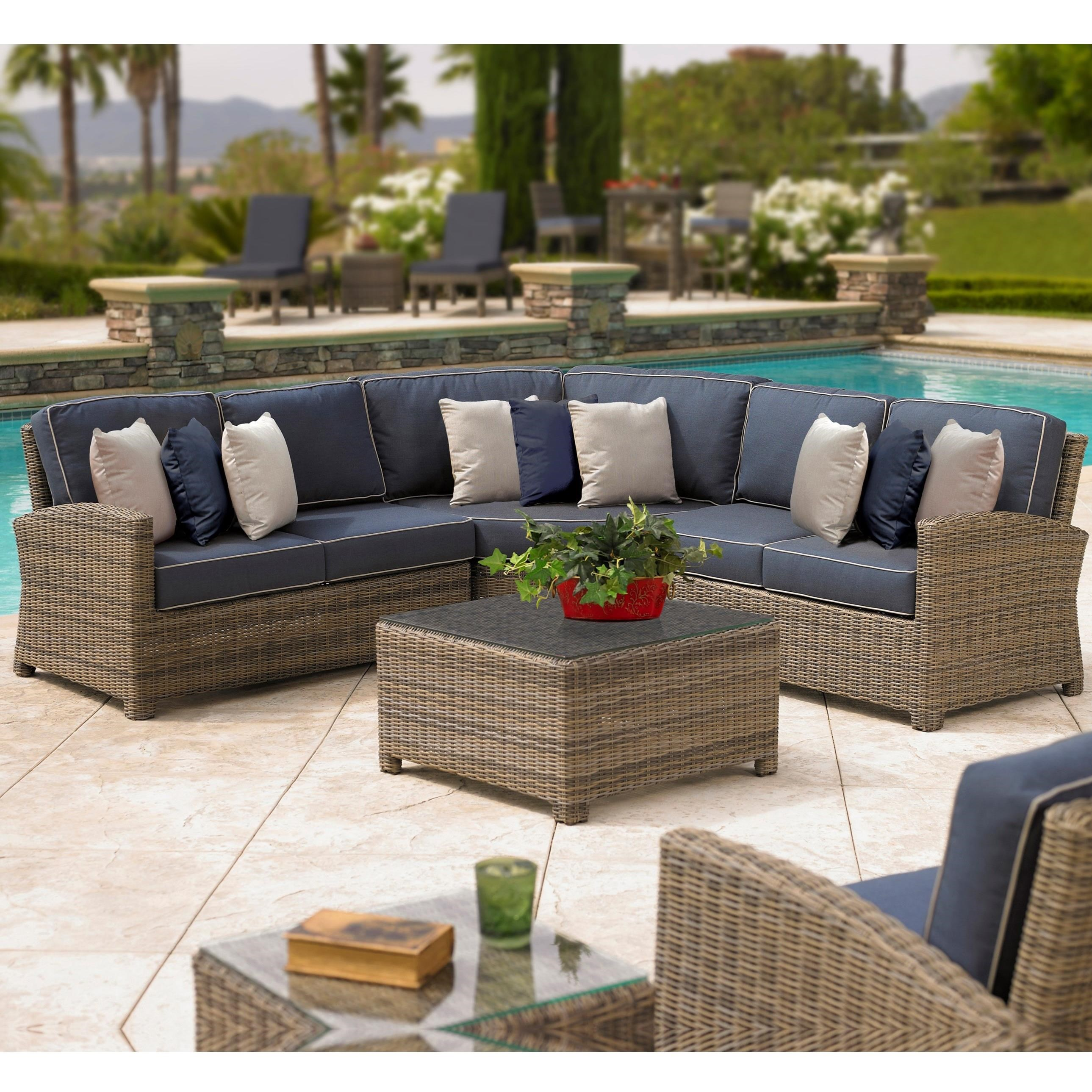 northcape international bainbridge outdoor corner sectional w sloping arms becker furniture. Black Bedroom Furniture Sets. Home Design Ideas