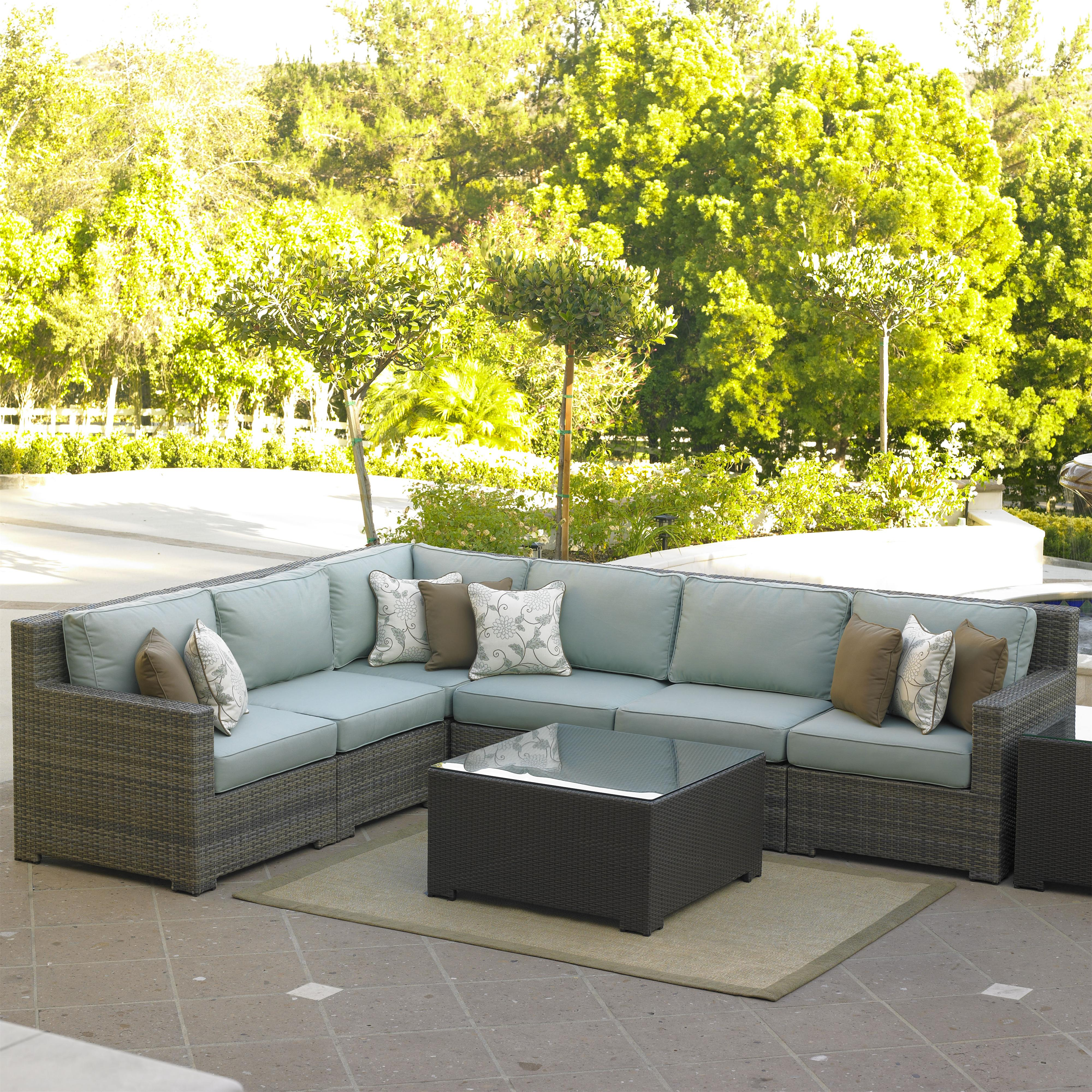 Northcape international malibu left arm facing six piece for Malibu outdoor sectional sofa