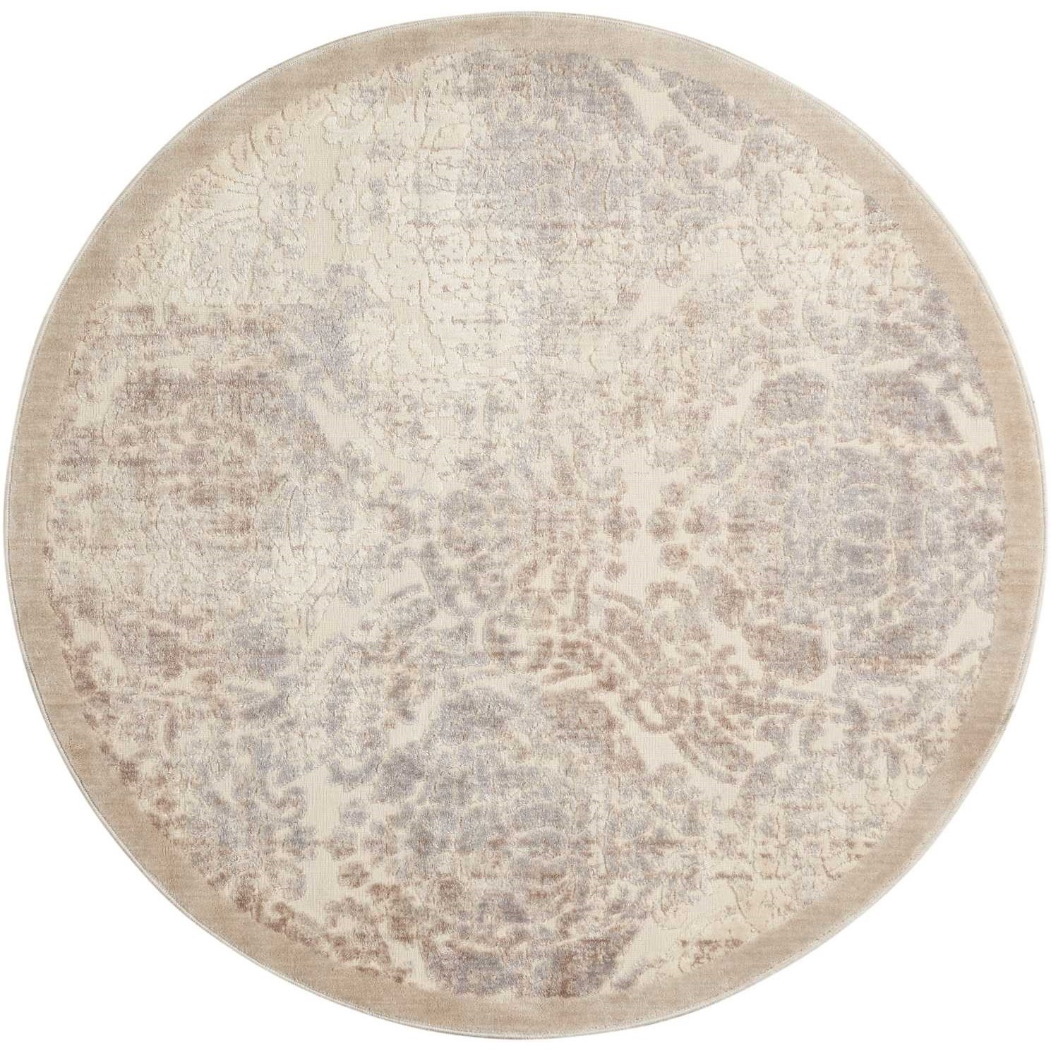 Nourison graphic illusions 7399quot x 7399quot ivory round rug for Graphic illusions