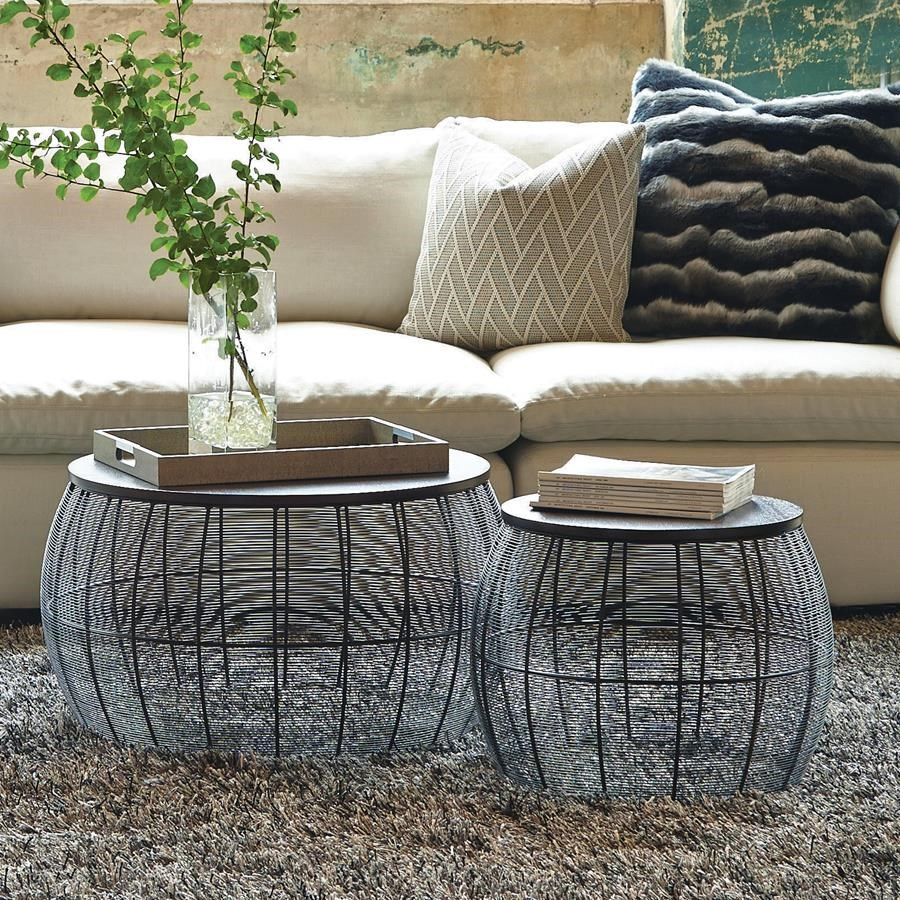 Tables sets round metal accent tables belfort furniture for Circle coffee table set