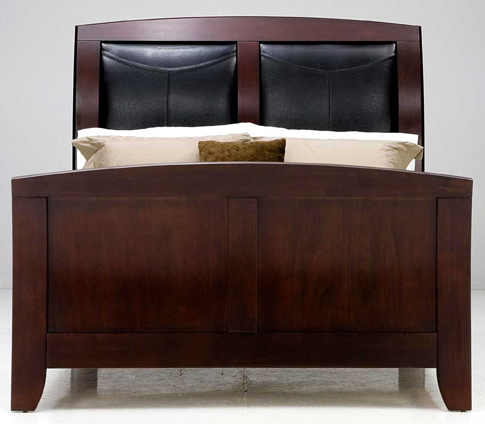 Leather Sleigh Bed Bedroom With Pastel Wall Color And Sleigh Bed Also Framed Wall Decor Art
