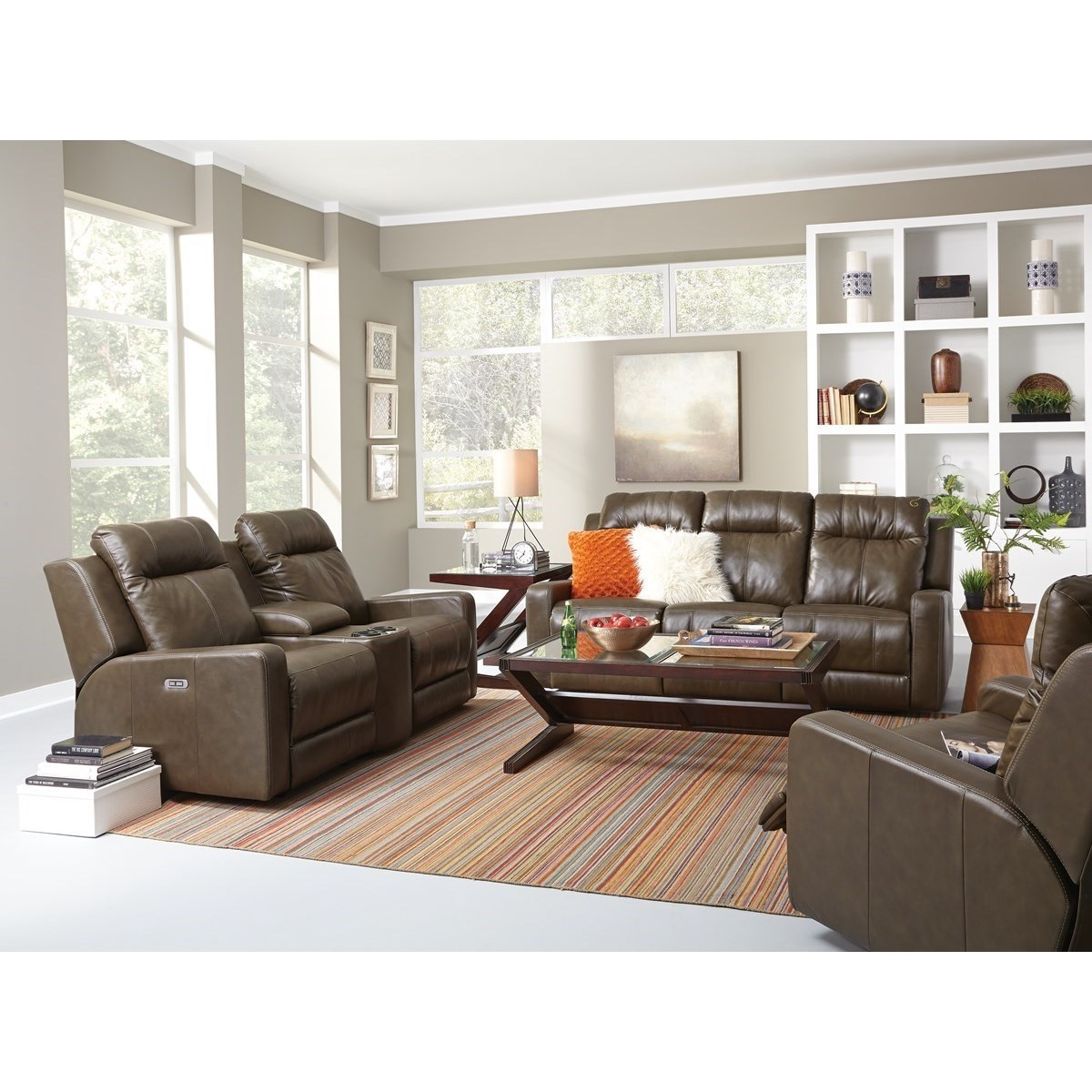 Palliser redwood power reclining living room group for Living room furniture groups