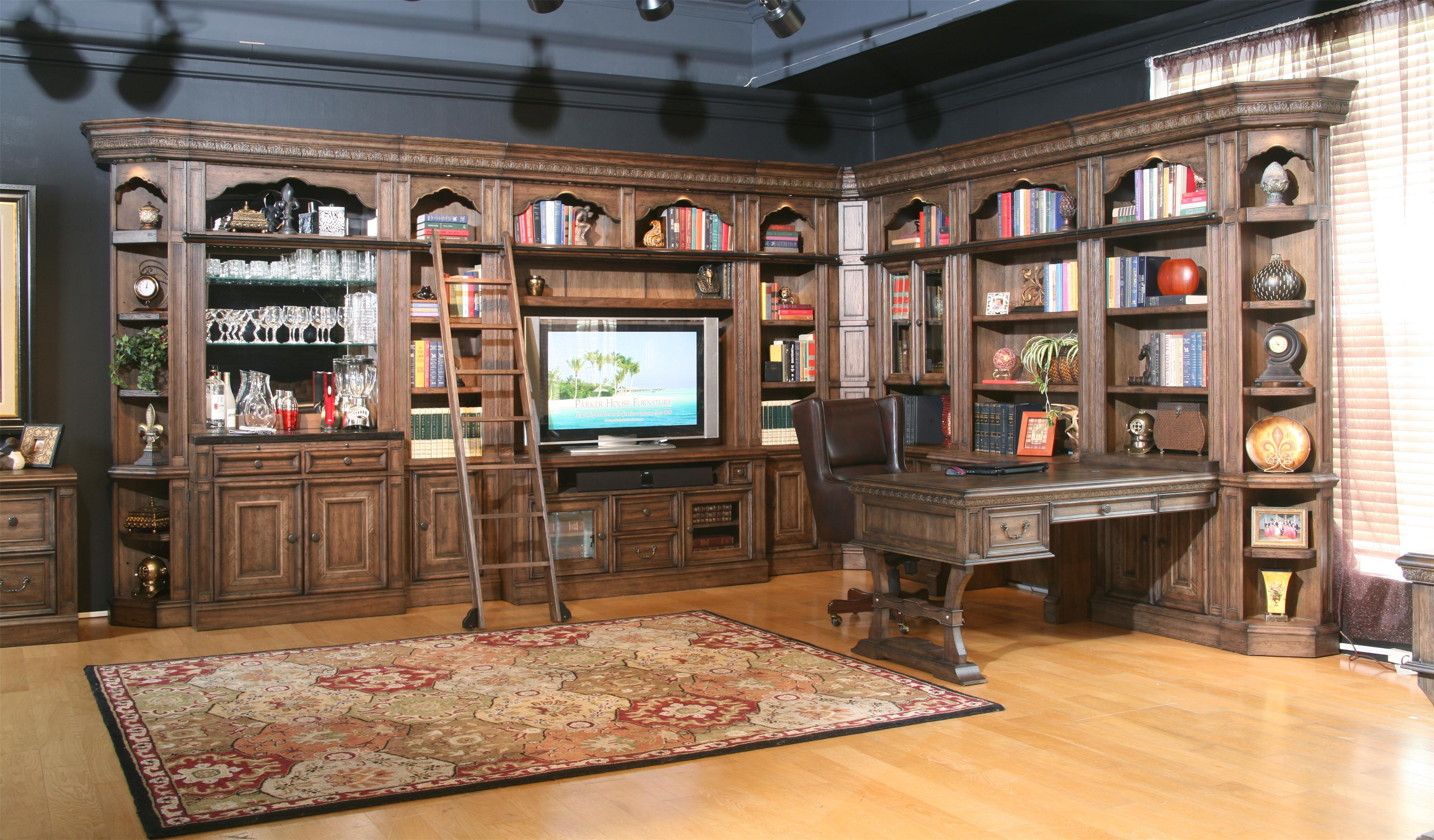 Parker House Aria Library Complete Wall Unit With Mirror Backed Bar And Peninsula Desk Wayside