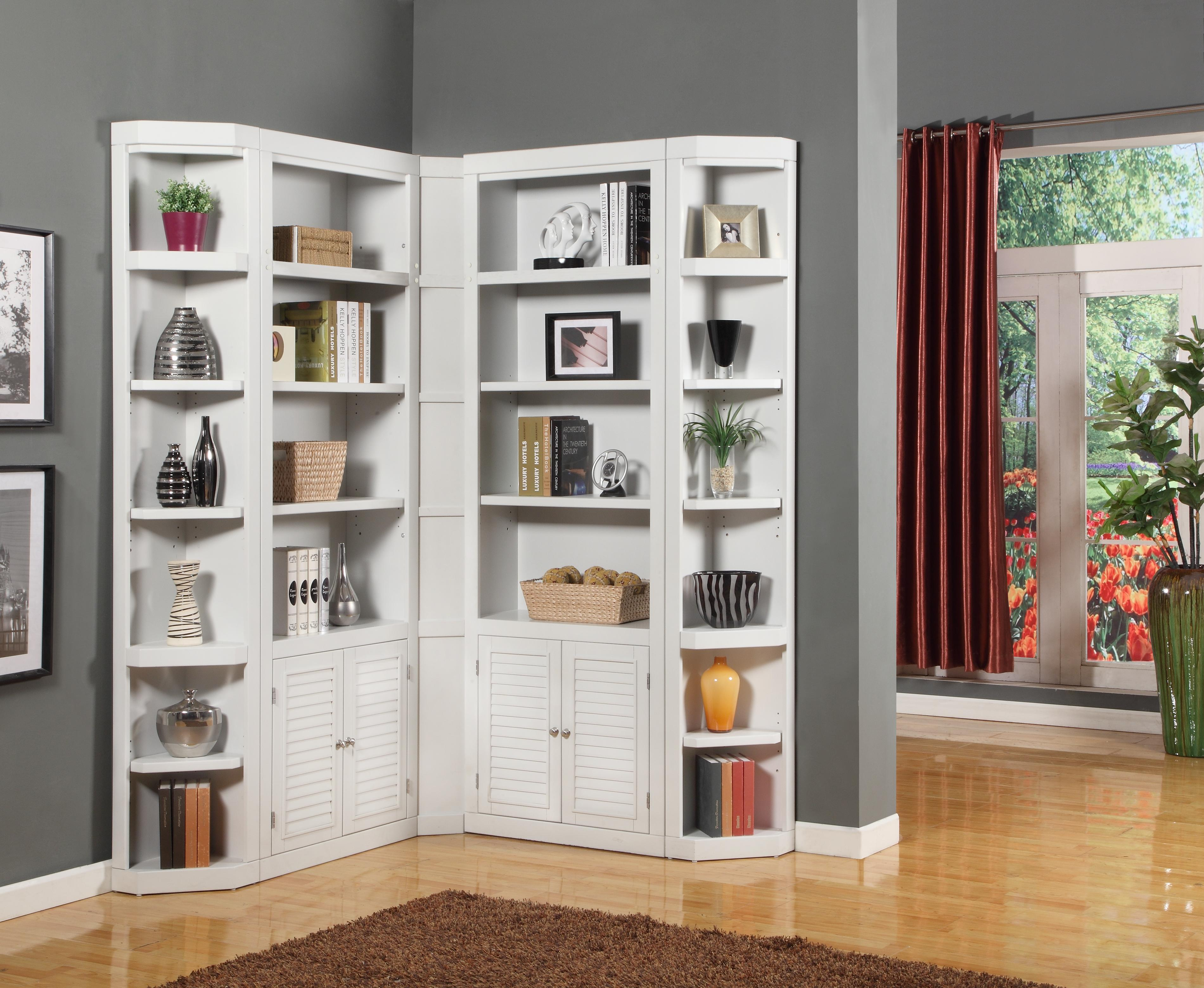 Parker house boca corner bookcase unit wayside furniture for Ikea closed bookcases