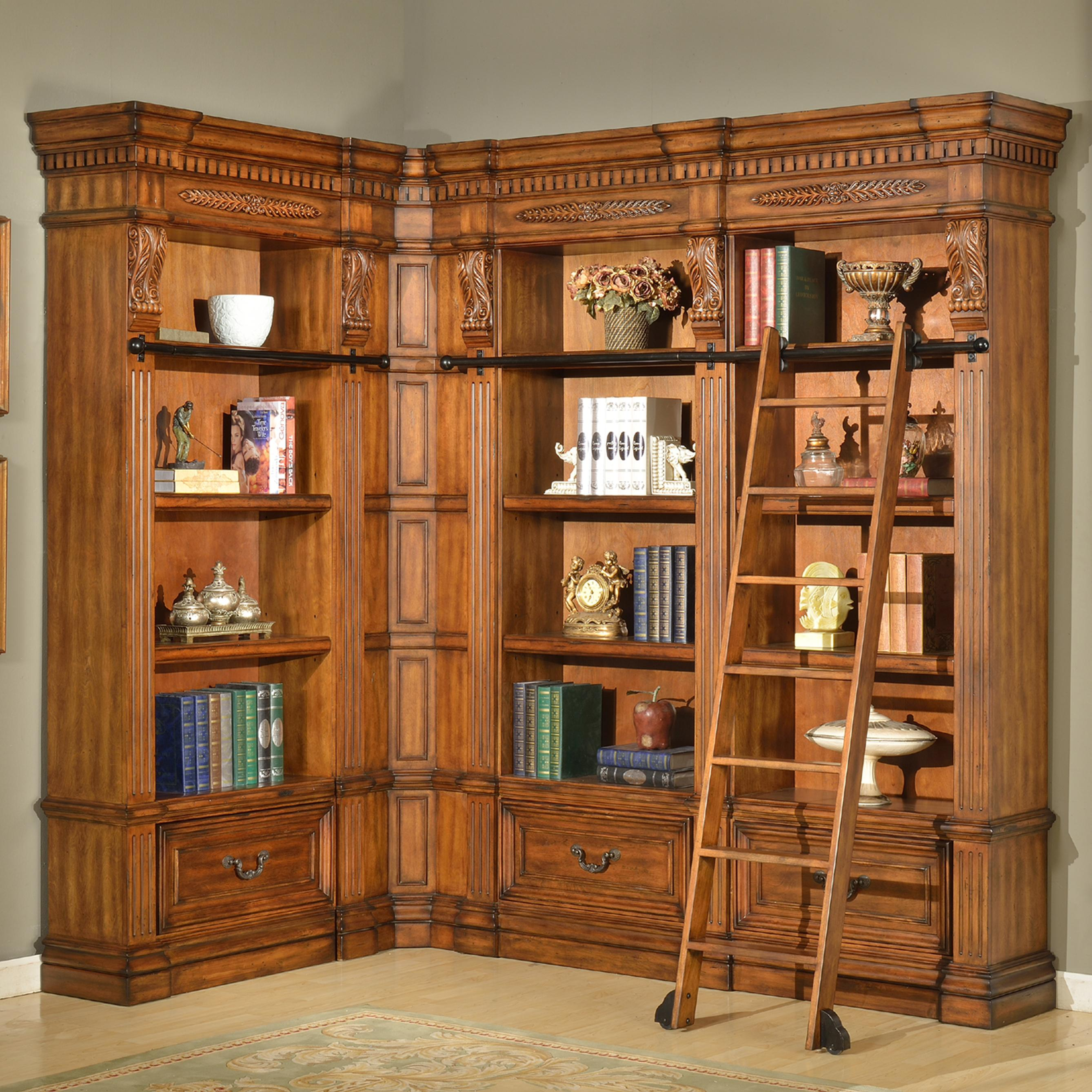 Parker house granada 5 piece museum bookcase corner wall for Corner wall furniture