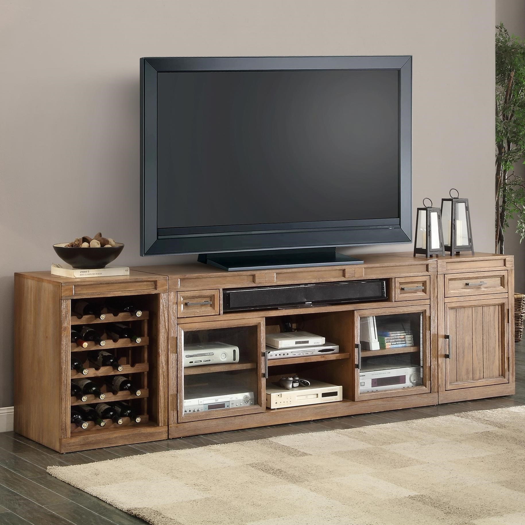 Parker house hickory creek 3 piece tv console with wine for Tv console with storage