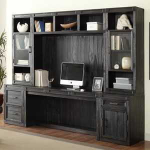 Hudson 6 Piece Desk with Hutch and Printer File Storage