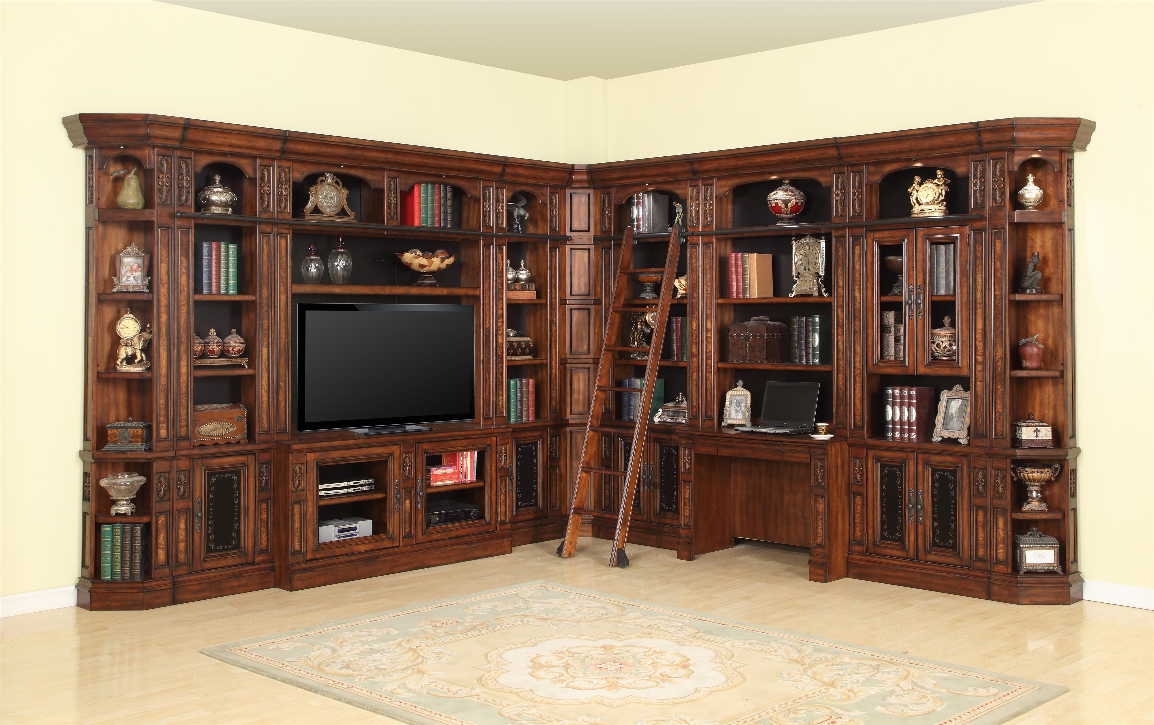 Parker house leonardo library wall with entertainment unit for Library wall colors