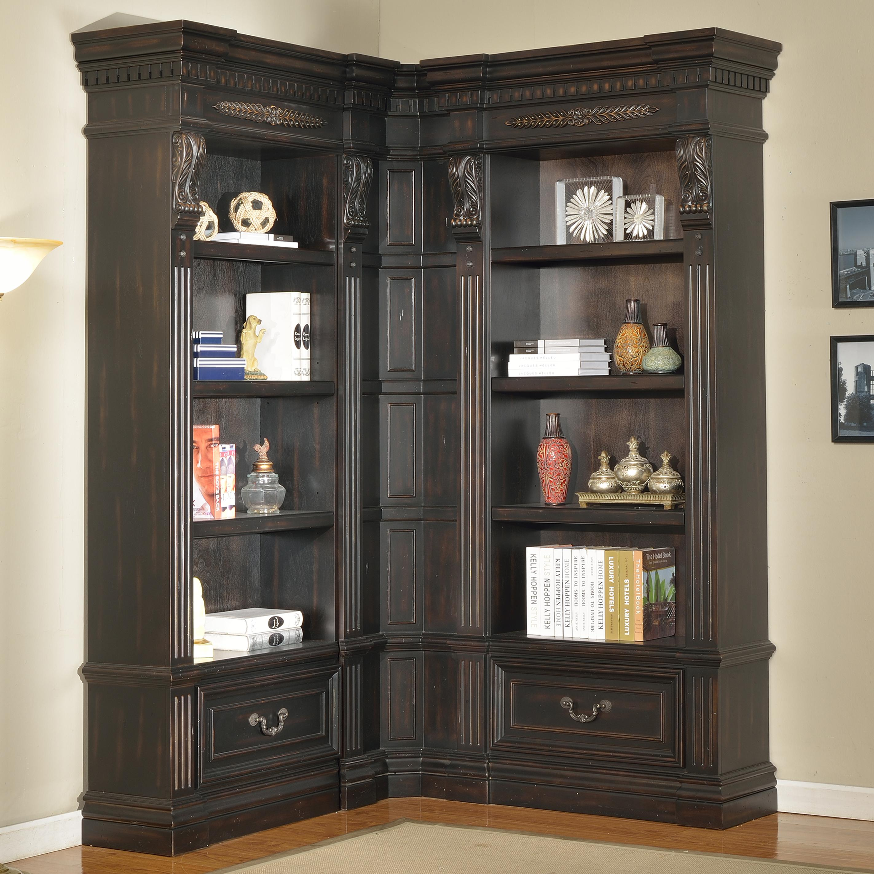 Parker house palazzo 3 piece museum corner bookcase wall for Corner wall furniture