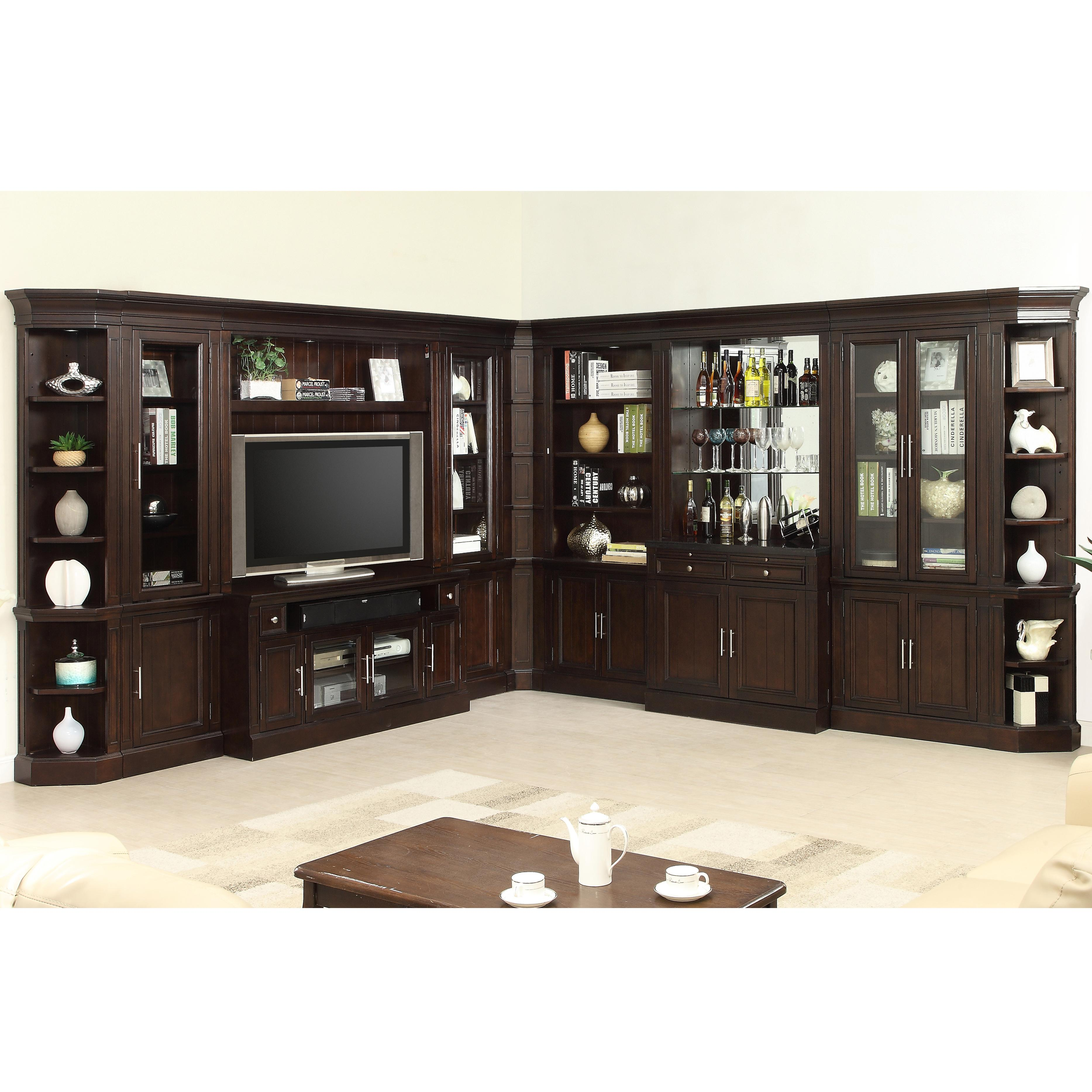 Parker house stanford wall unit with bar and tv console del sol furniture wall unit for Built in units for living room ireland