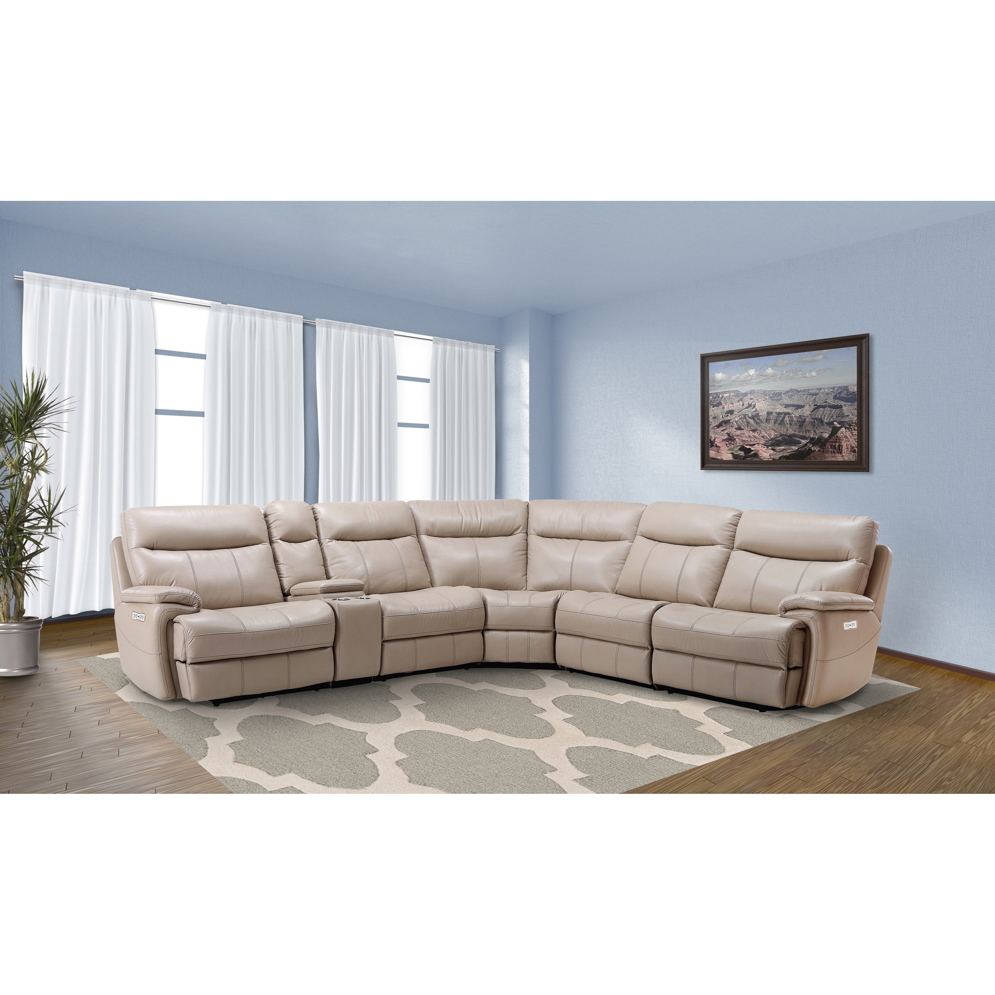 arlo casual reclining sectional sofa with storage console rotmans reclining sectional sofas. Black Bedroom Furniture Sets. Home Design Ideas