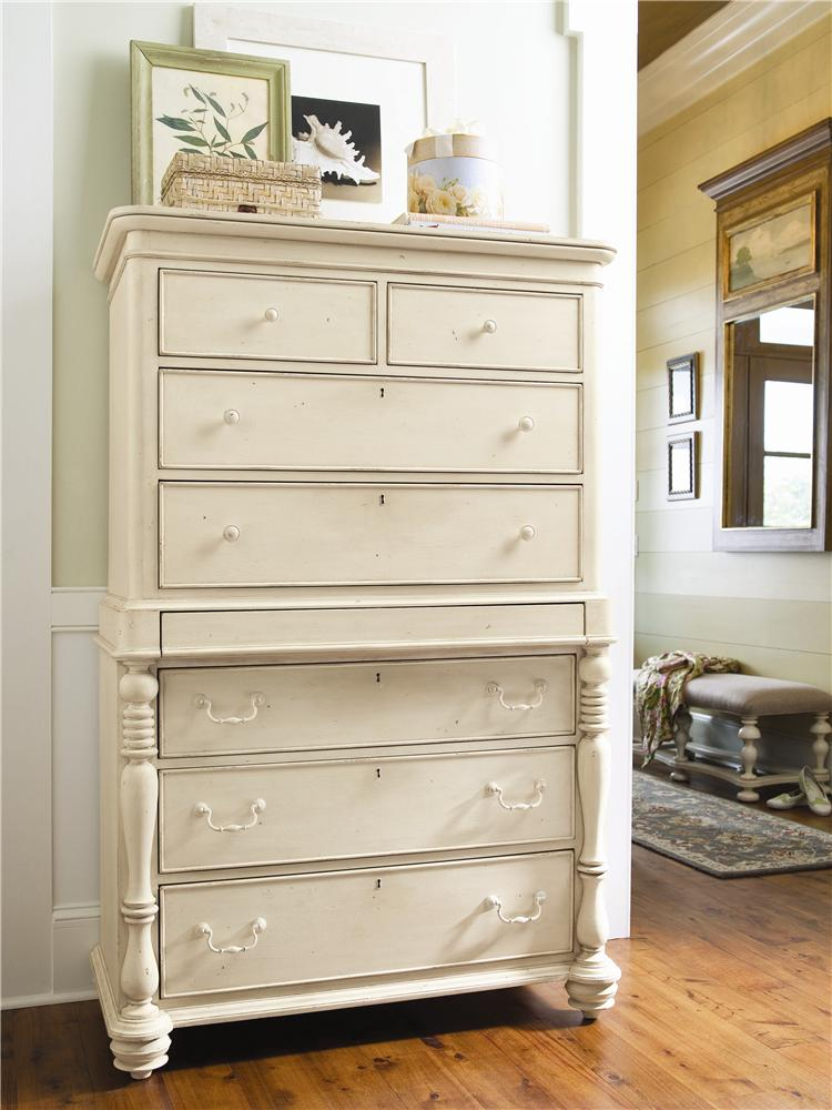 Paula Deen By Universal Paula Deen Home Tall Chest With 7 Drawers And Semi Hidden Jewelry Tray