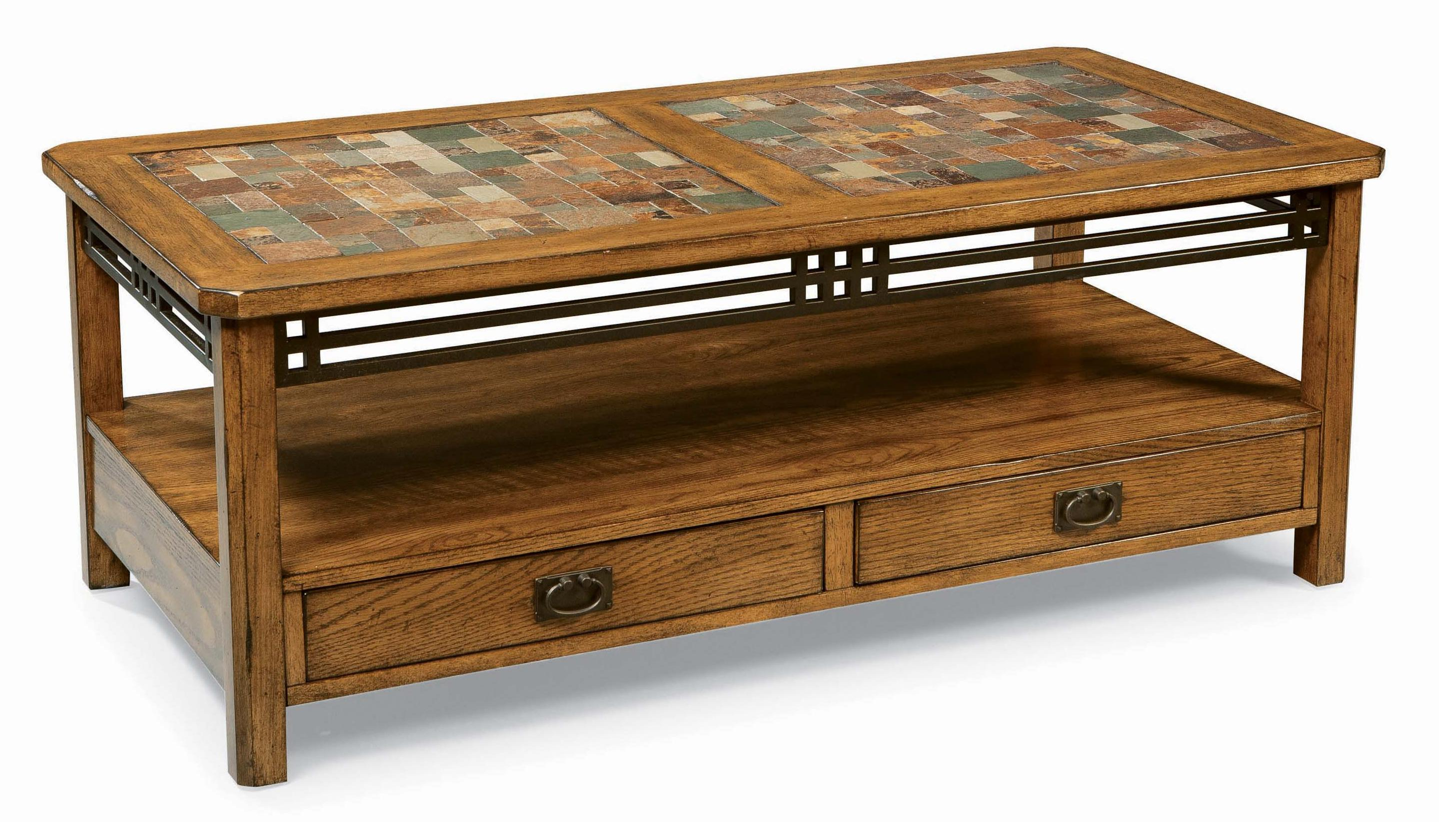 Peters revington american craftsman oak standard cocktail table with slate tile top wayside Slate top coffee tables