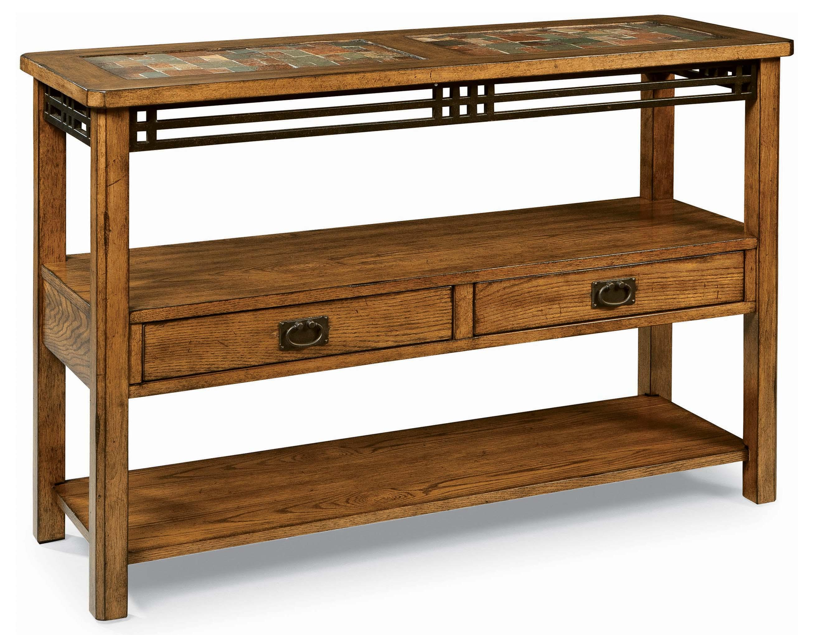 Peters revington american craftsman oak sofa table with for Sofa table cabinet