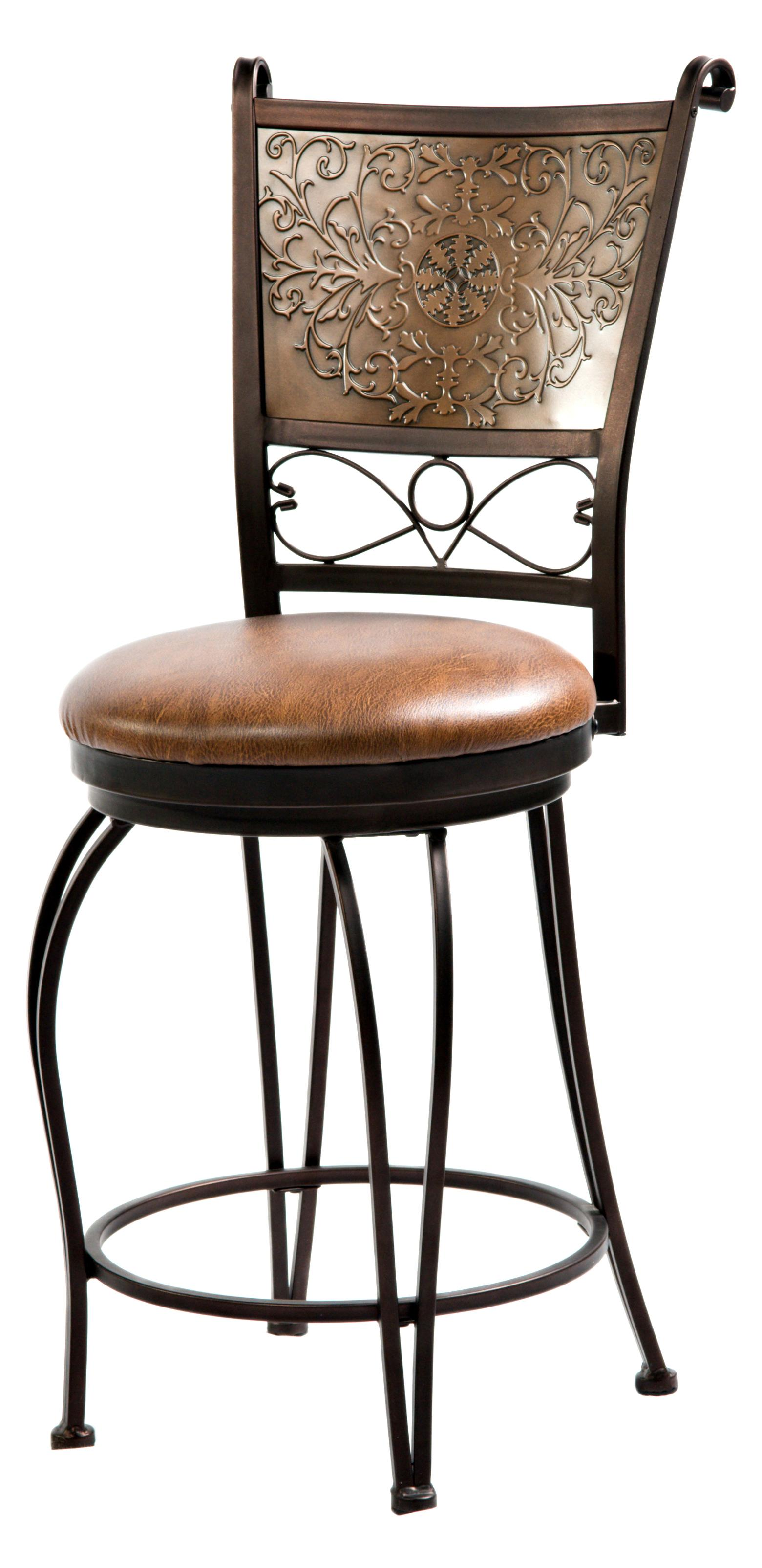 Powell Bar Stools Tables 222 918 24 Inch Bronze With Muted Copper Stamped Back Bar Stool