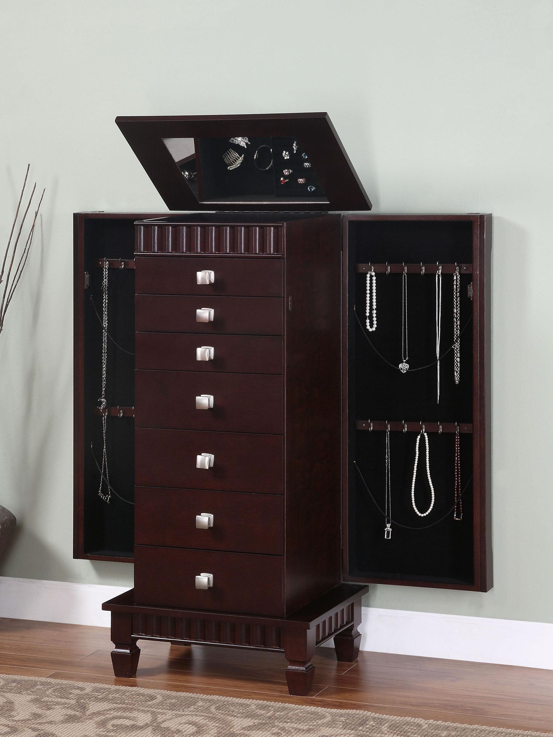 Powell jewelry armoire contemporary merlot jewelry for Bijoux armoires ikea