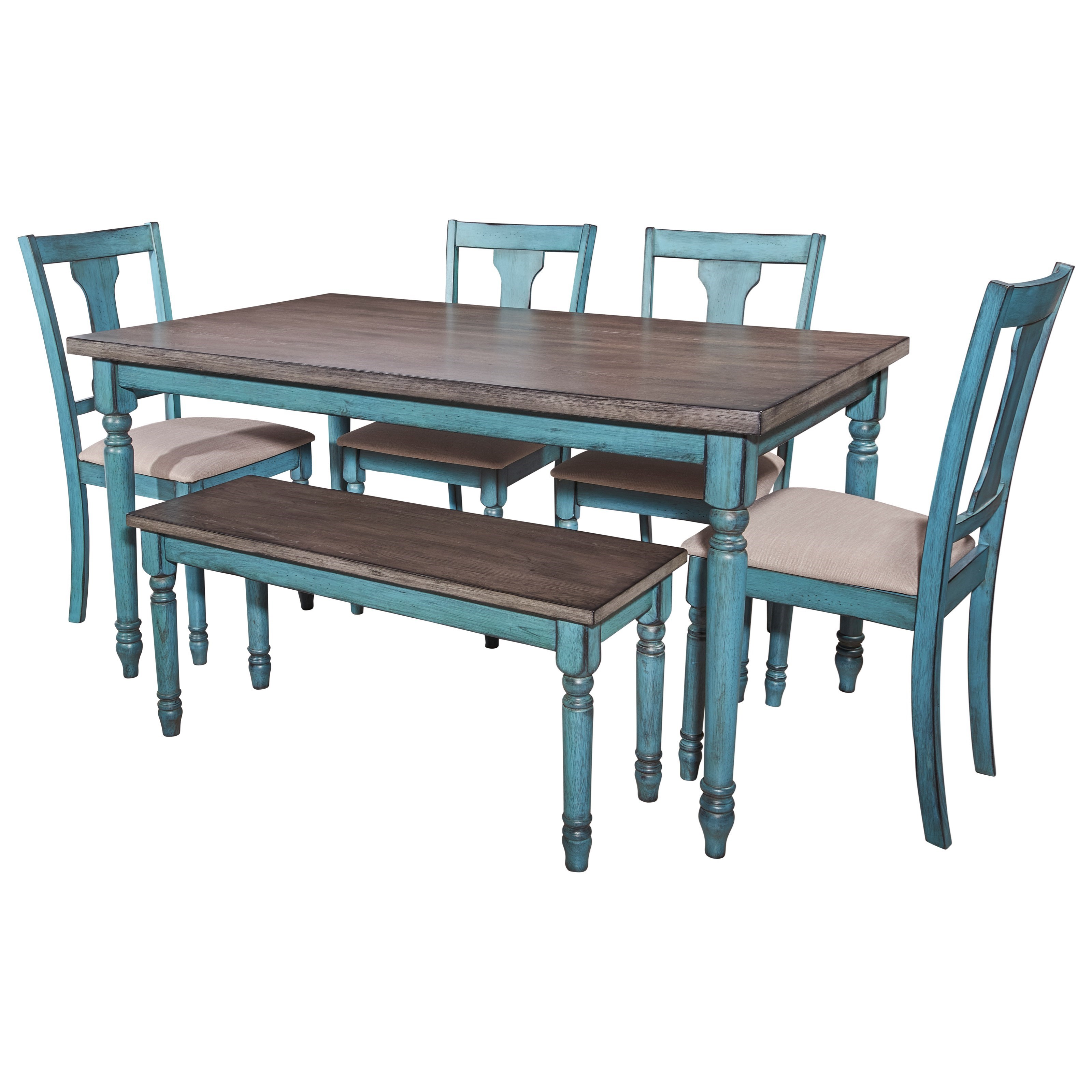 Powell willow willow 6 piece dining set furniture fair for Dining room tables jacksonville nc
