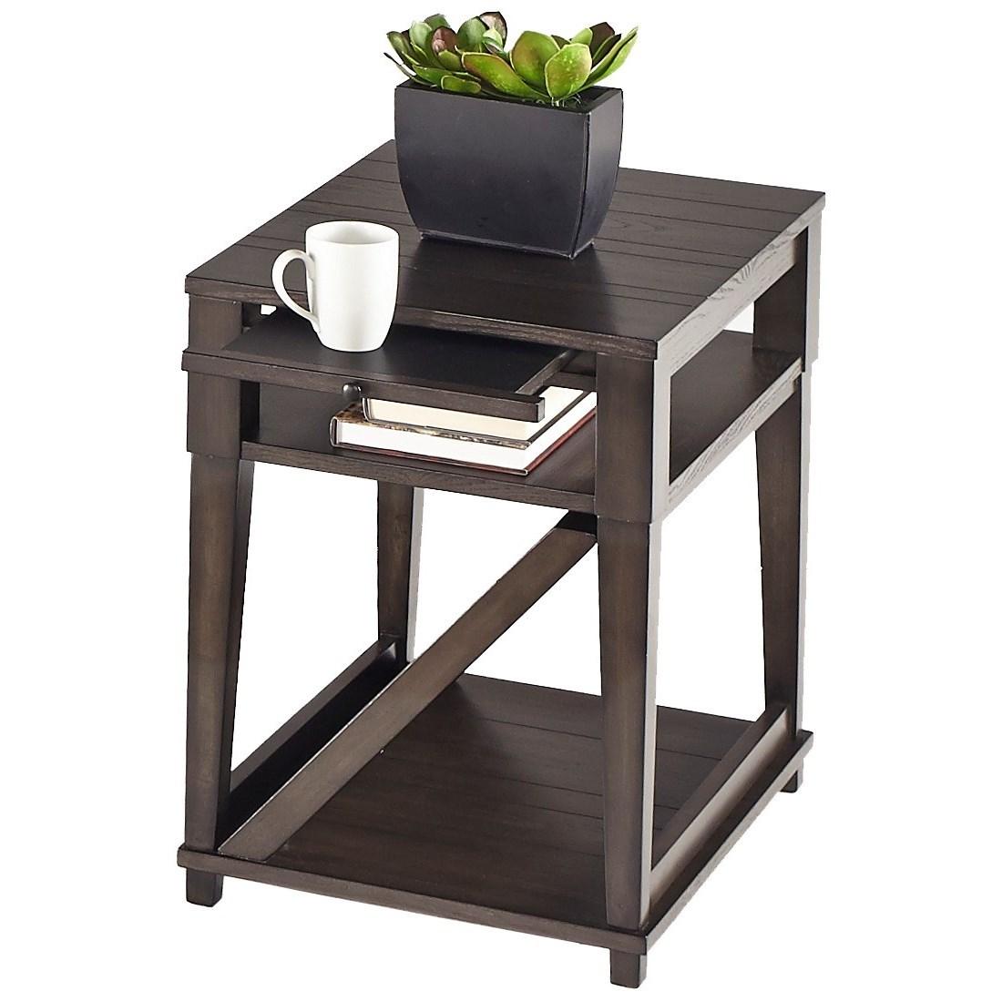 Progressive furniture consort oak veneer chairside table for Sofa table rules