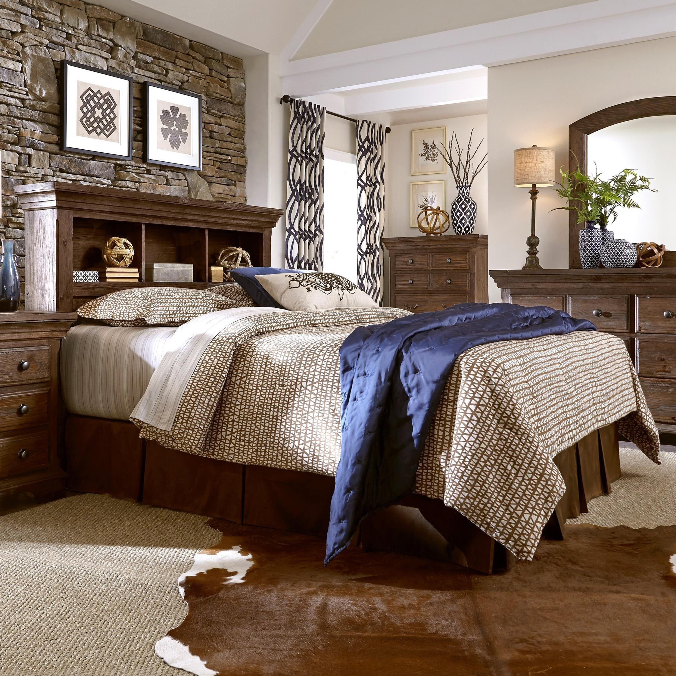 Progressive Furniture Copenhagen Solid Wood Pine King Bookcase Headboard Bo